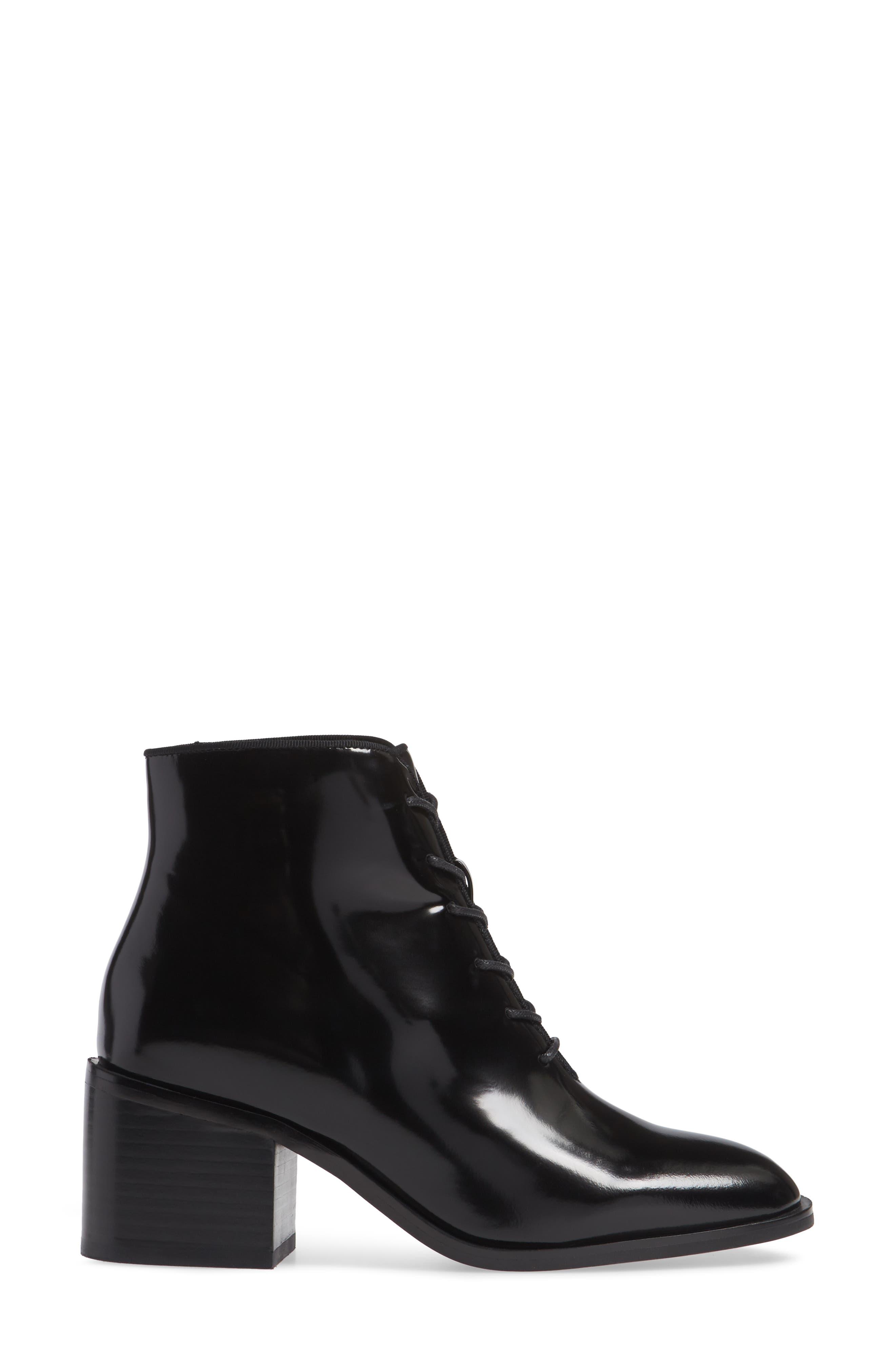 JEFFREY CAMPBELL, Talcott Block Heel Bootie, Alternate thumbnail 3, color, BLACK BOX