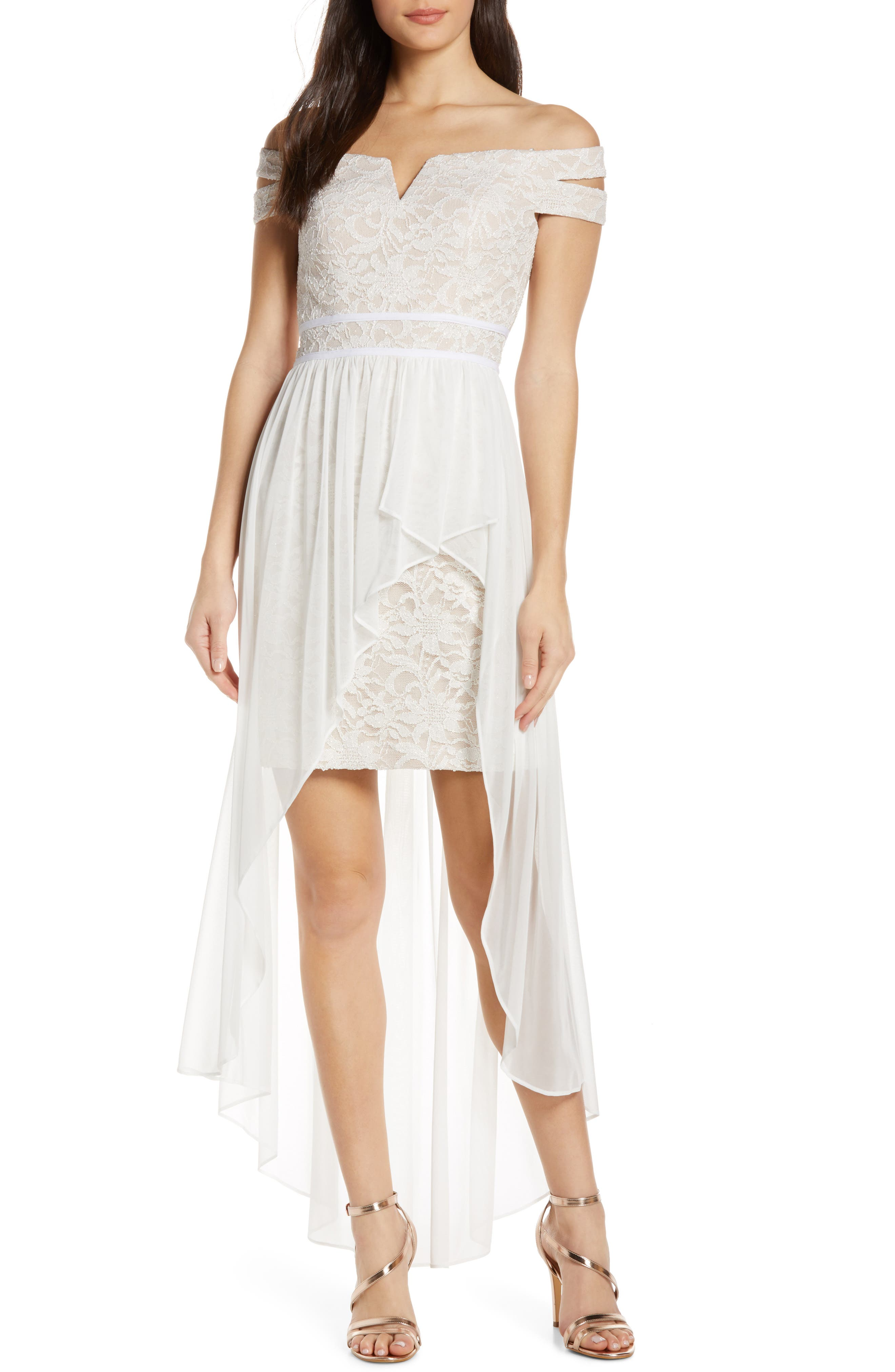 Morgan & Co. Off The Shoulder Lace & Chiffon Overlay Gown, Ivory