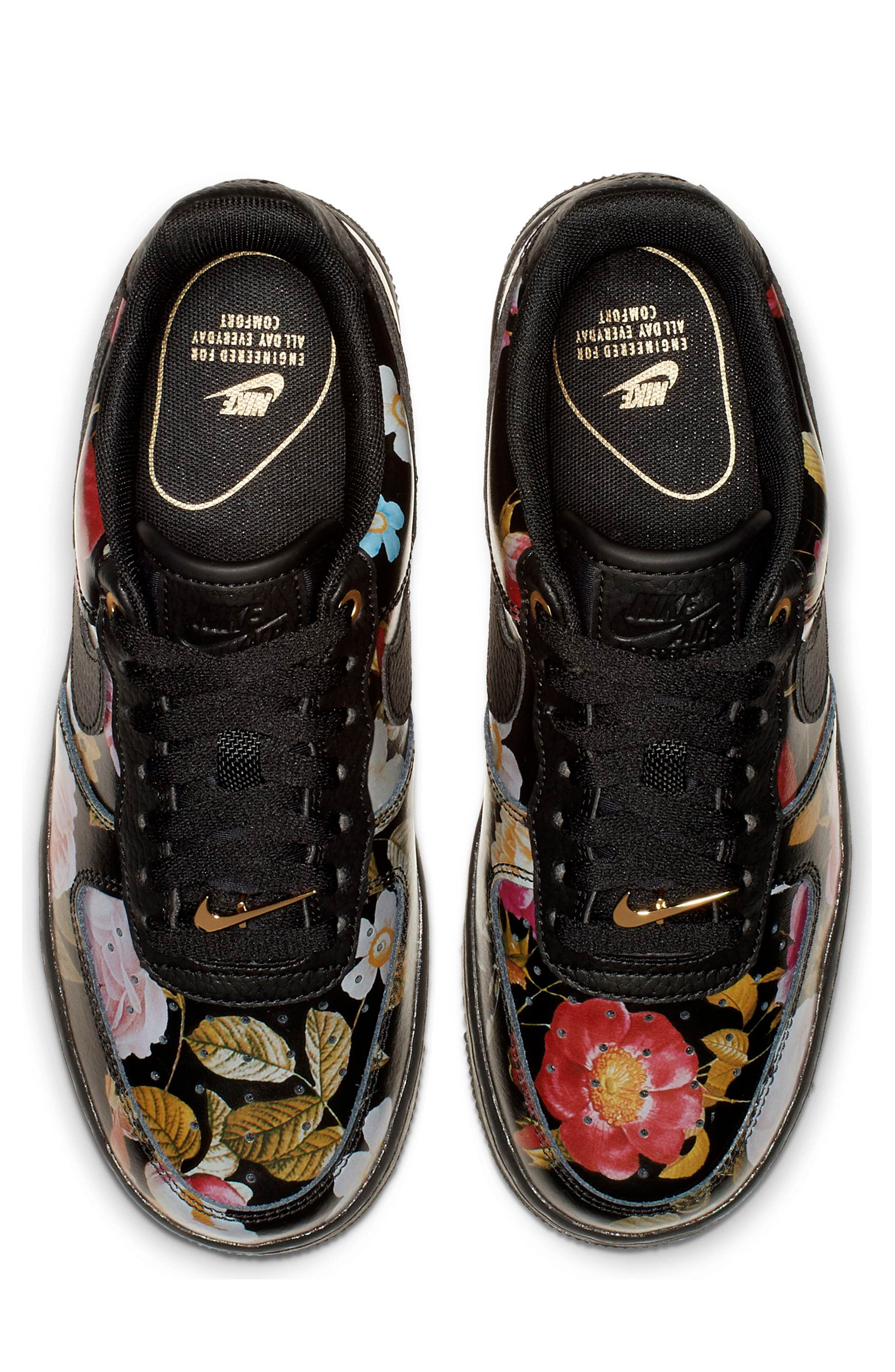 NIKE, Air Force 1 '07 LXX Sneaker, Alternate thumbnail 4, color, BLACK/ BLACK/ METALLIC GOLD