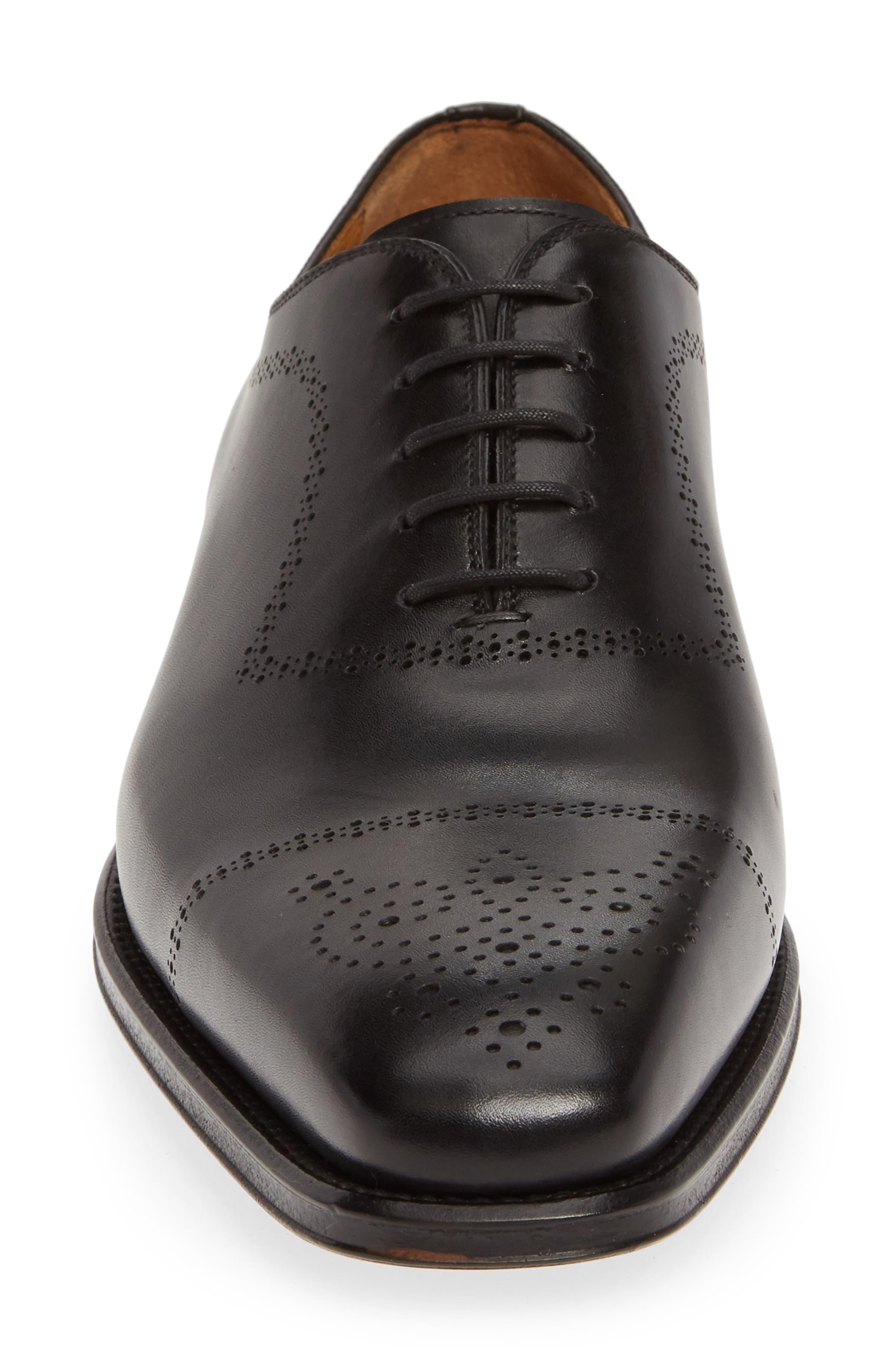 MAGNANNI, Leyton Medallion Toe Oxford, Alternate thumbnail 4, color, BLACK LEATHER