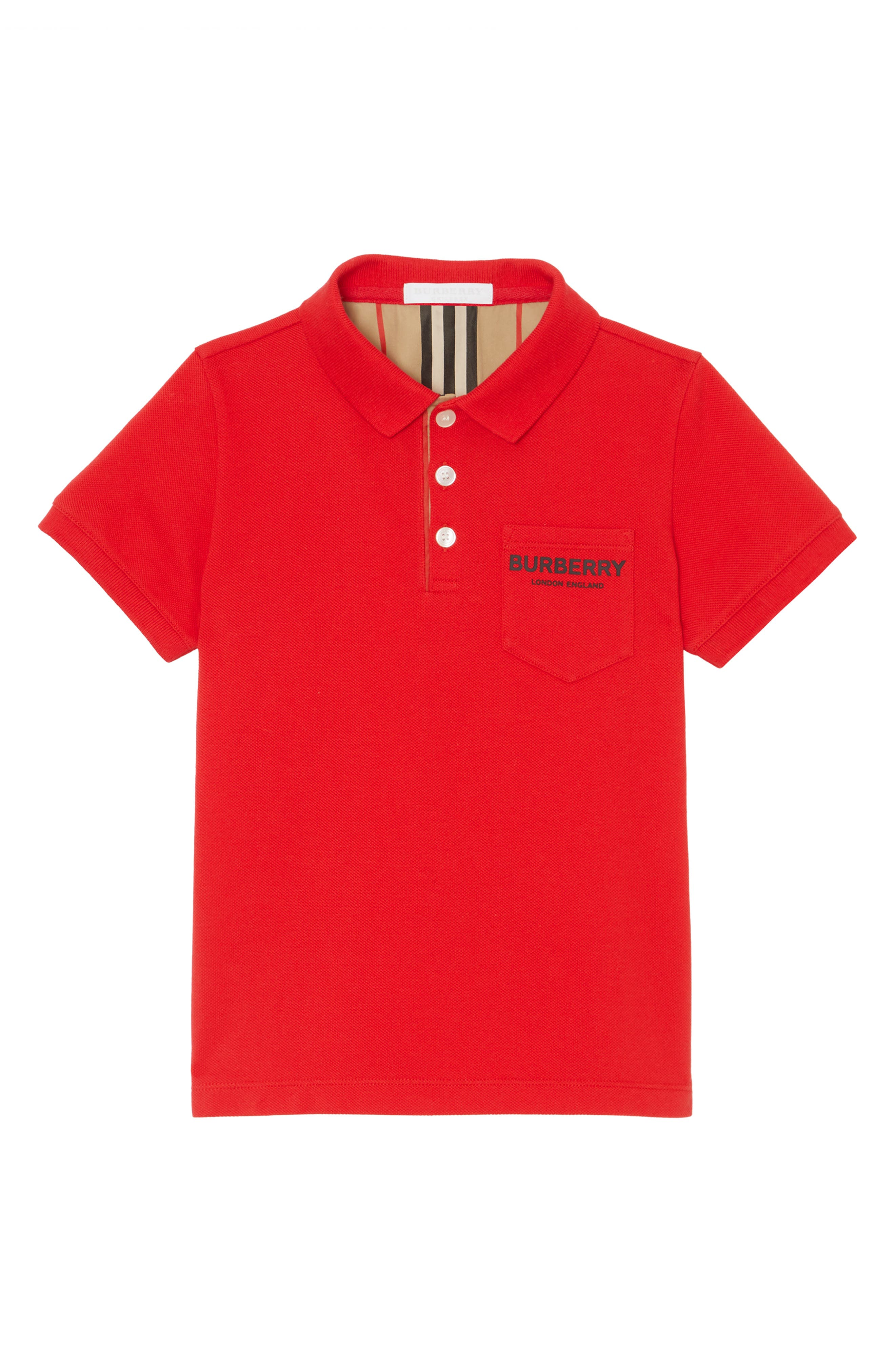BURBERRY, Logo Cotton Piqué Polo, Main thumbnail 1, color, BRIGHT RED
