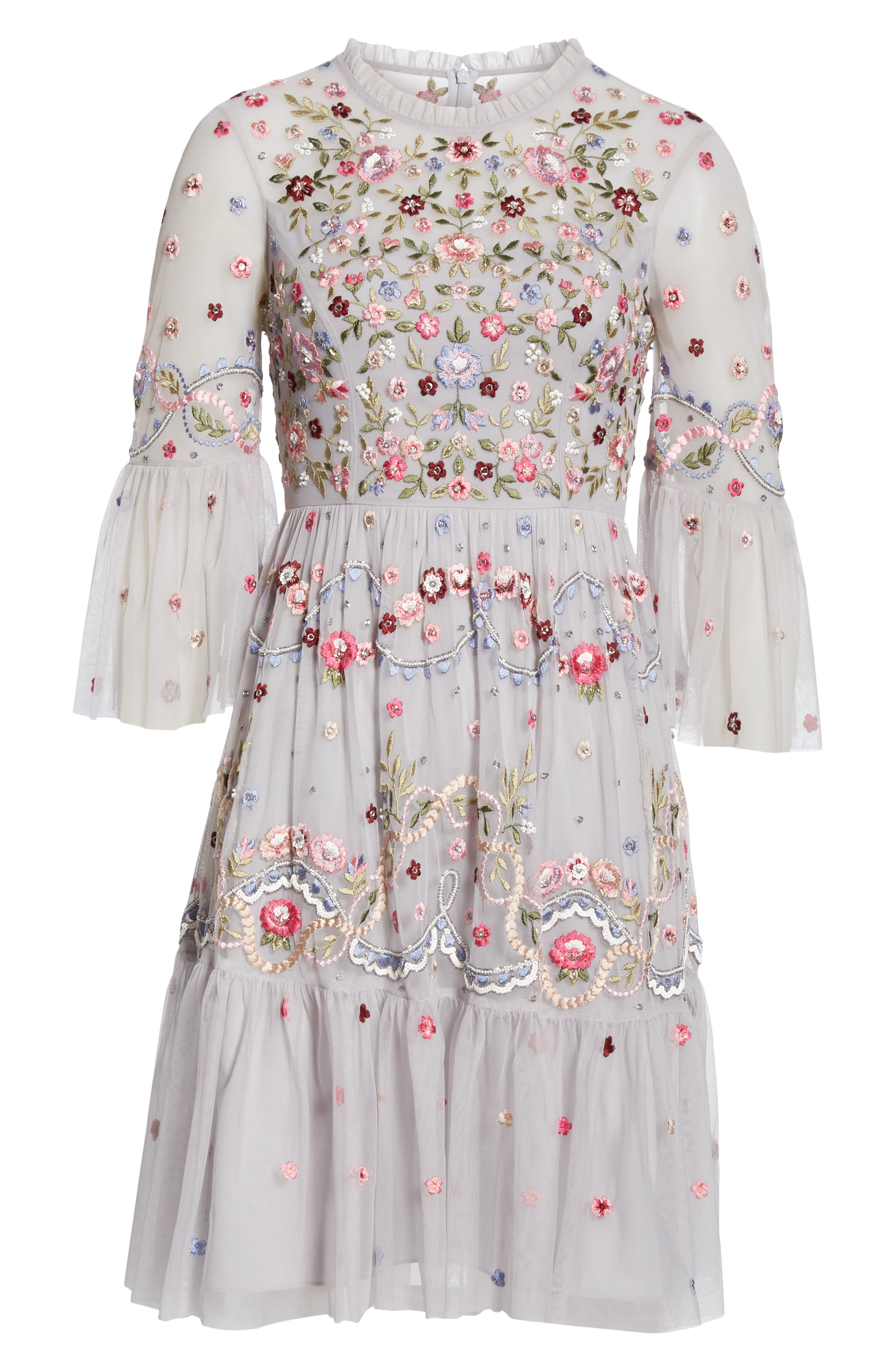 NEEDLE & THREAD, Dreamers Embroidered Tulle Dress, Alternate thumbnail 6, color, 400