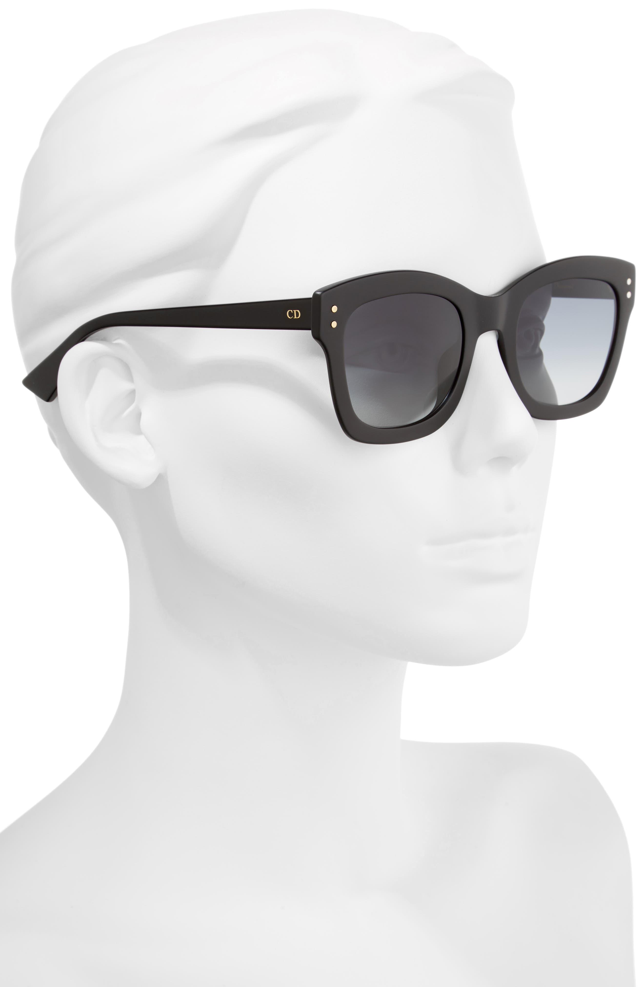 DIOR, Izon 51mm Sunglasses, Alternate thumbnail 2, color, BLACK
