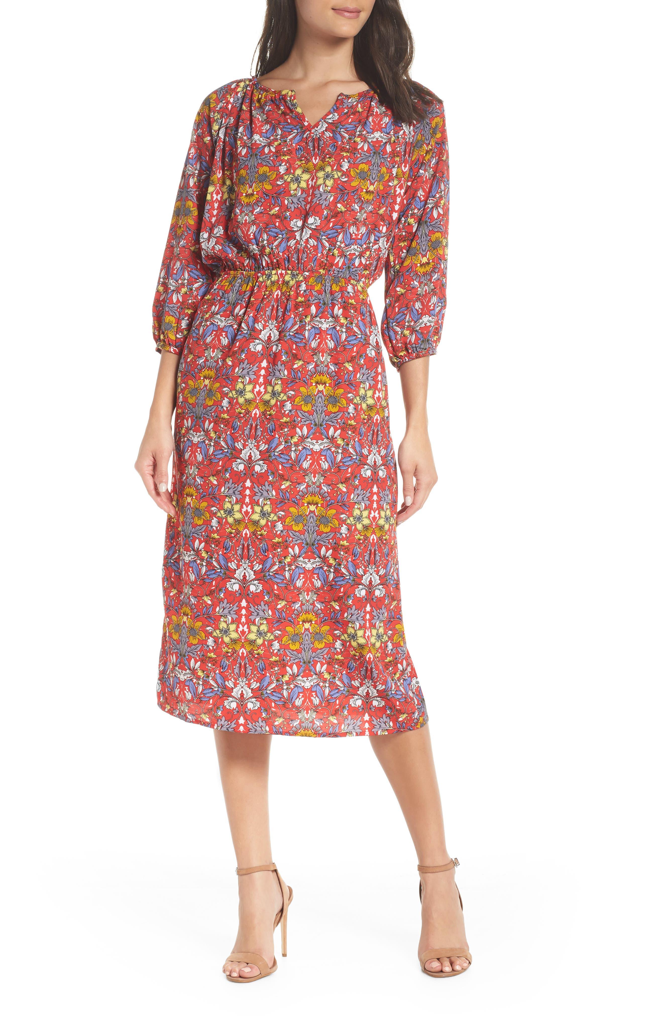 Fraiche By J Floral Blouson Dress, Red