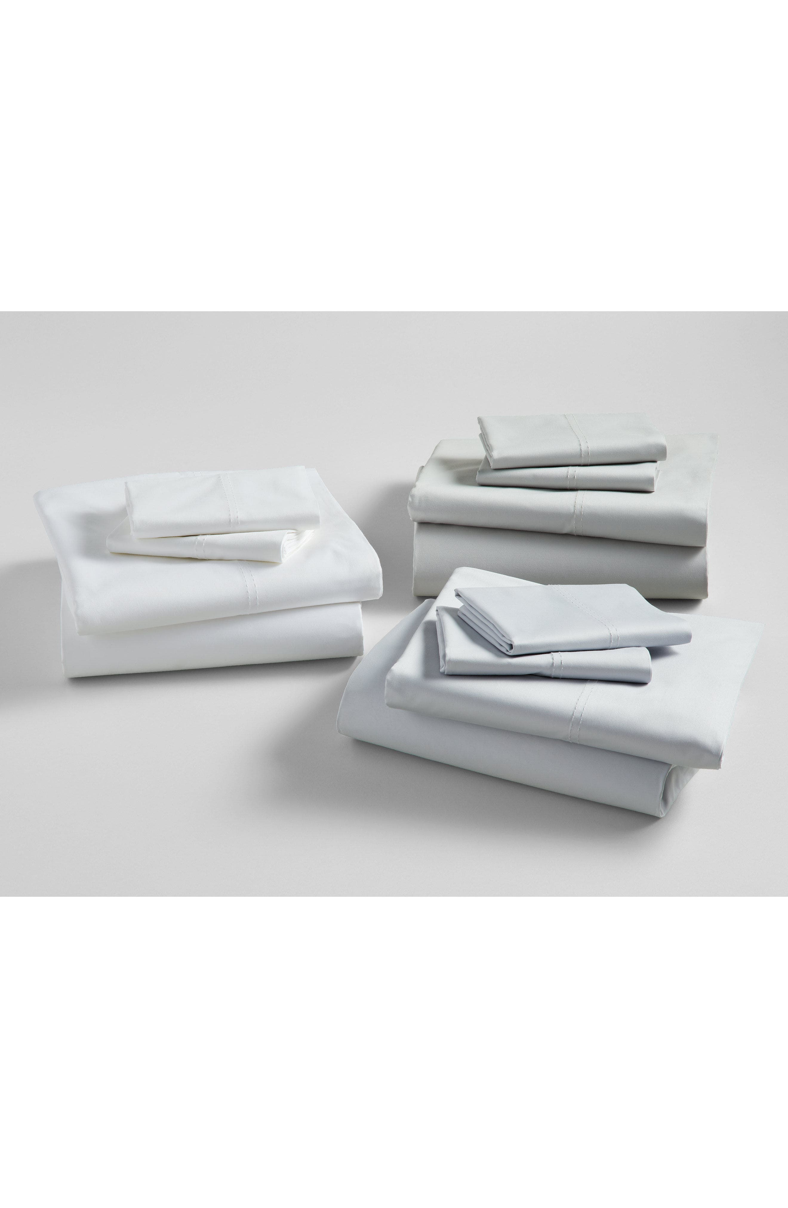 NORDSTROM AT HOME, 400 Thread Count Organic Cotton Sateen Sheet Set, Alternate thumbnail 7, color, GREY PEARL