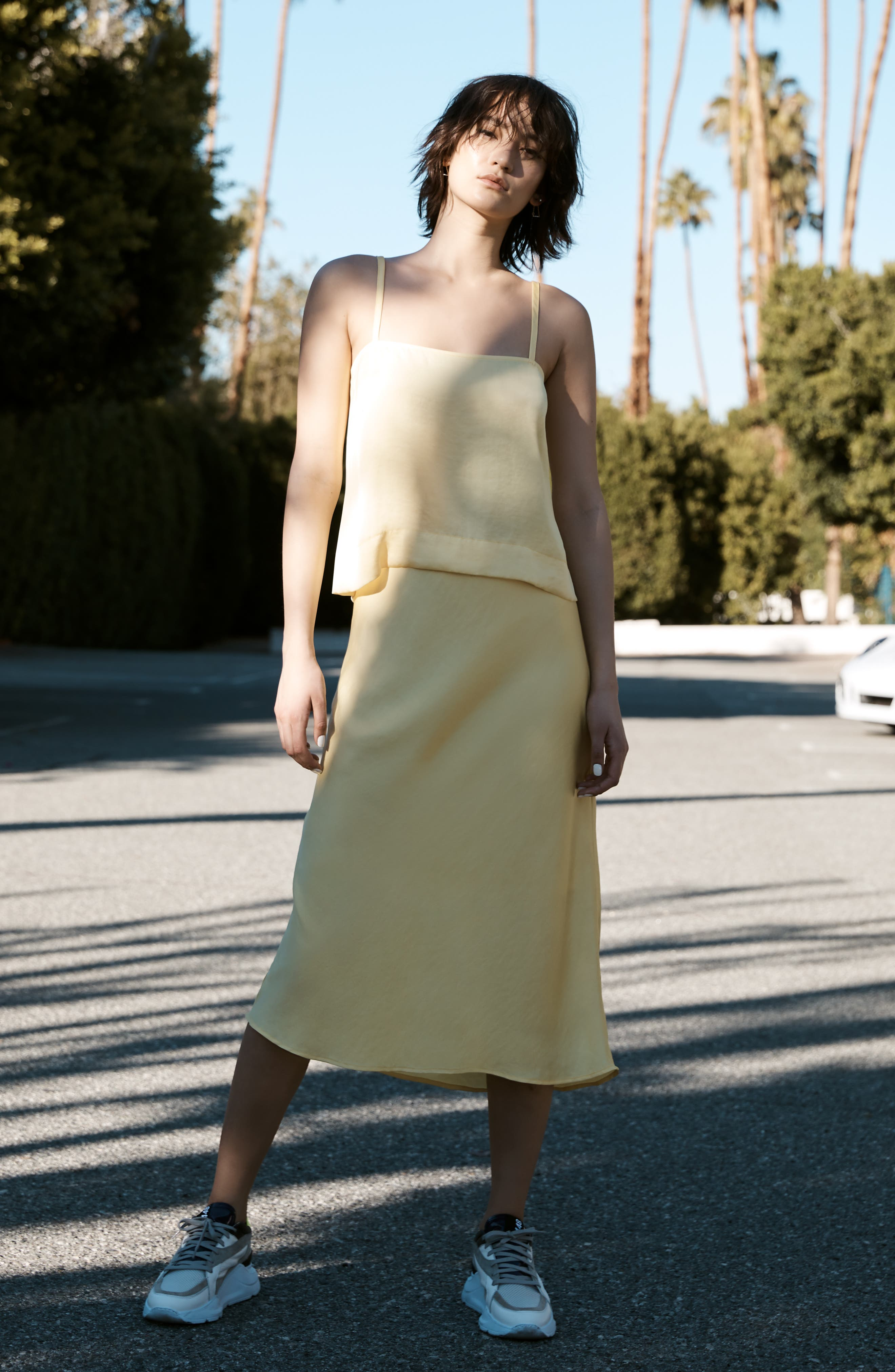 LEITH, Fluid Strappy Satin Camisole, Alternate thumbnail 8, color, YELLOW MERINGUE