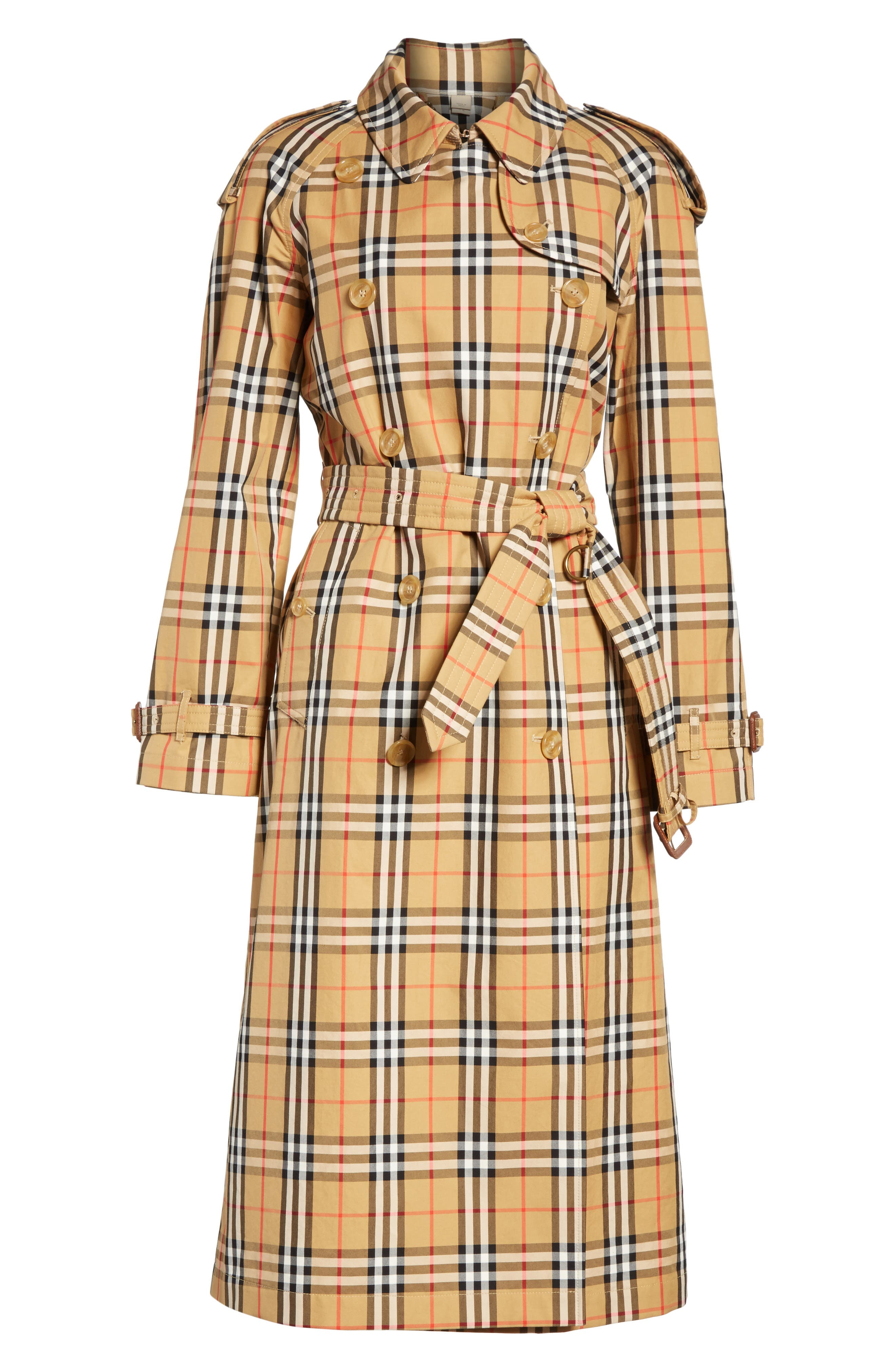 BURBERRY, Eastheath Vintage Check Trench Coat, Alternate thumbnail 6, color, ANTIQUE YELLOW