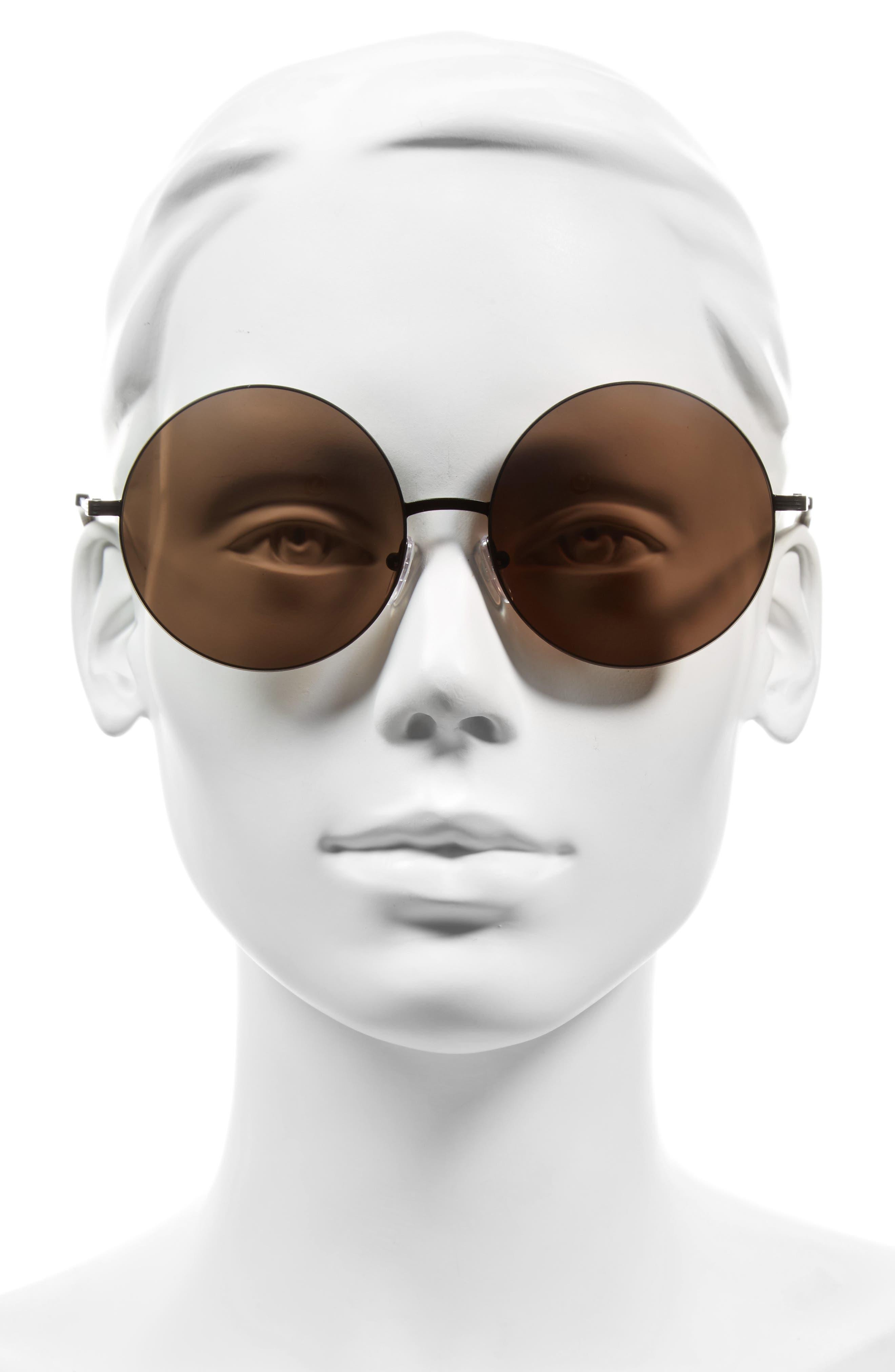 VICTORIA BECKHAM, Feather 58mm Round Sunglasses, Alternate thumbnail 2, color, BLACK/ CAVIAR MIRROR