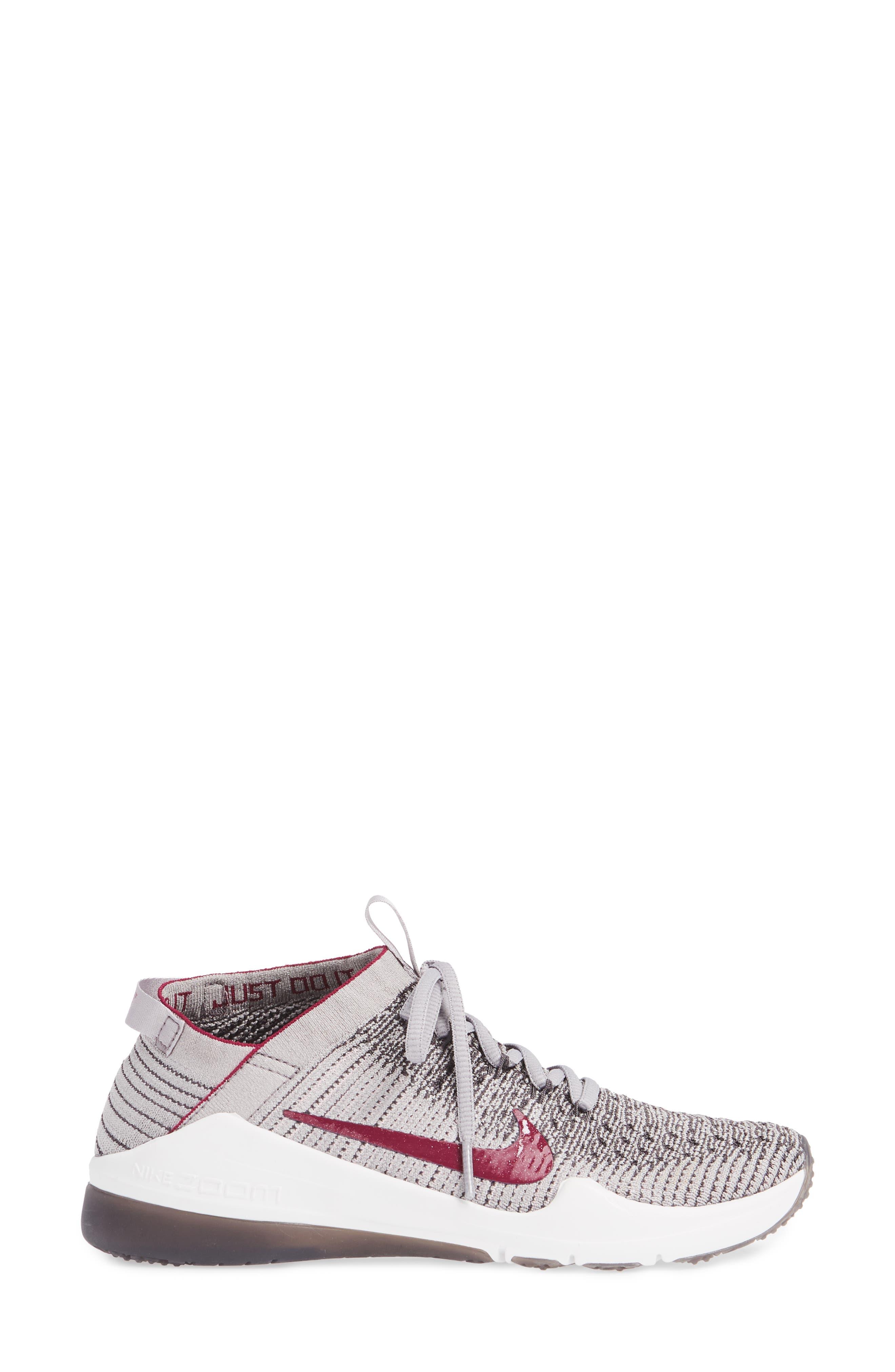 NIKE, Air Zoom Fearless Flyknit 2 Training Sneaker, Alternate thumbnail 3, color, GREY/ TRUE BERRY/ PLUM CHALK