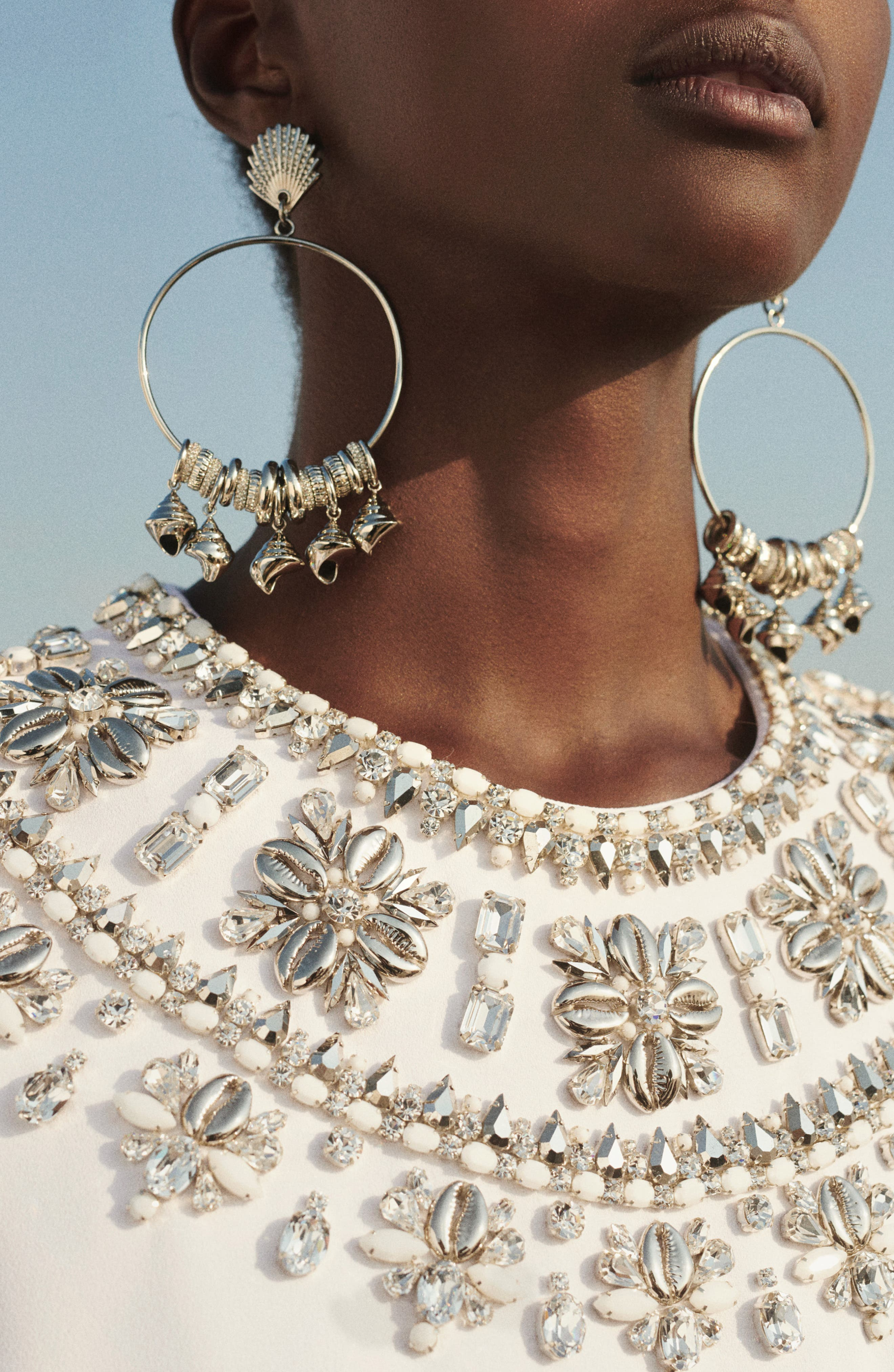 MICHAEL KORS, Crystal Embellished Split Sleeve Double Crepe Sable Dress, Alternate thumbnail 8, color, OPTIC WHITE W/ SILVER