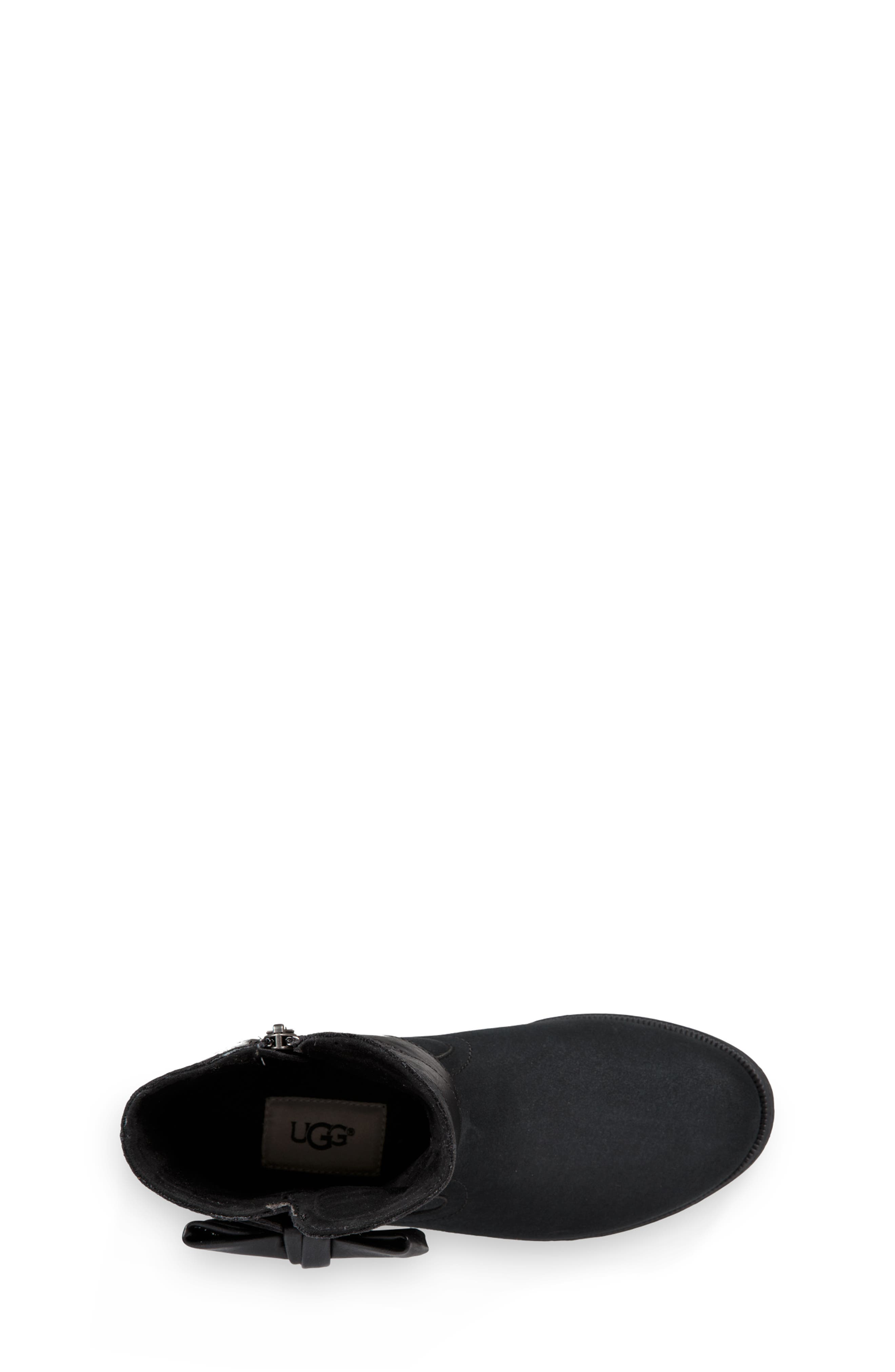 UGG<SUP>®</SUP>, UGG Joanie Bow Boot, Alternate thumbnail 4, color, BLACK