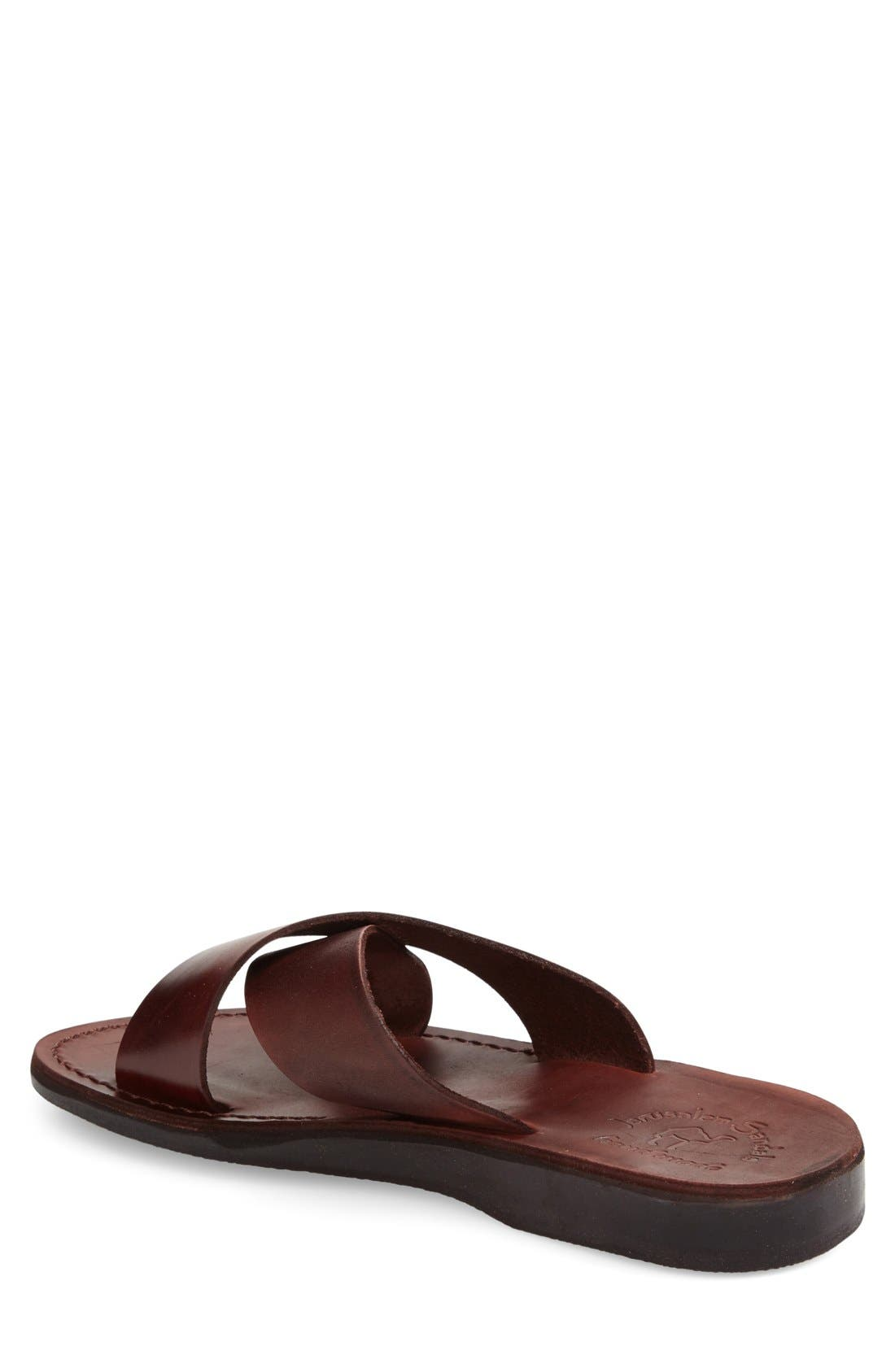 JERUSALEM SANDALS, 'Elan' Slide Sandal, Alternate thumbnail 4, color, BROWN LEATHER