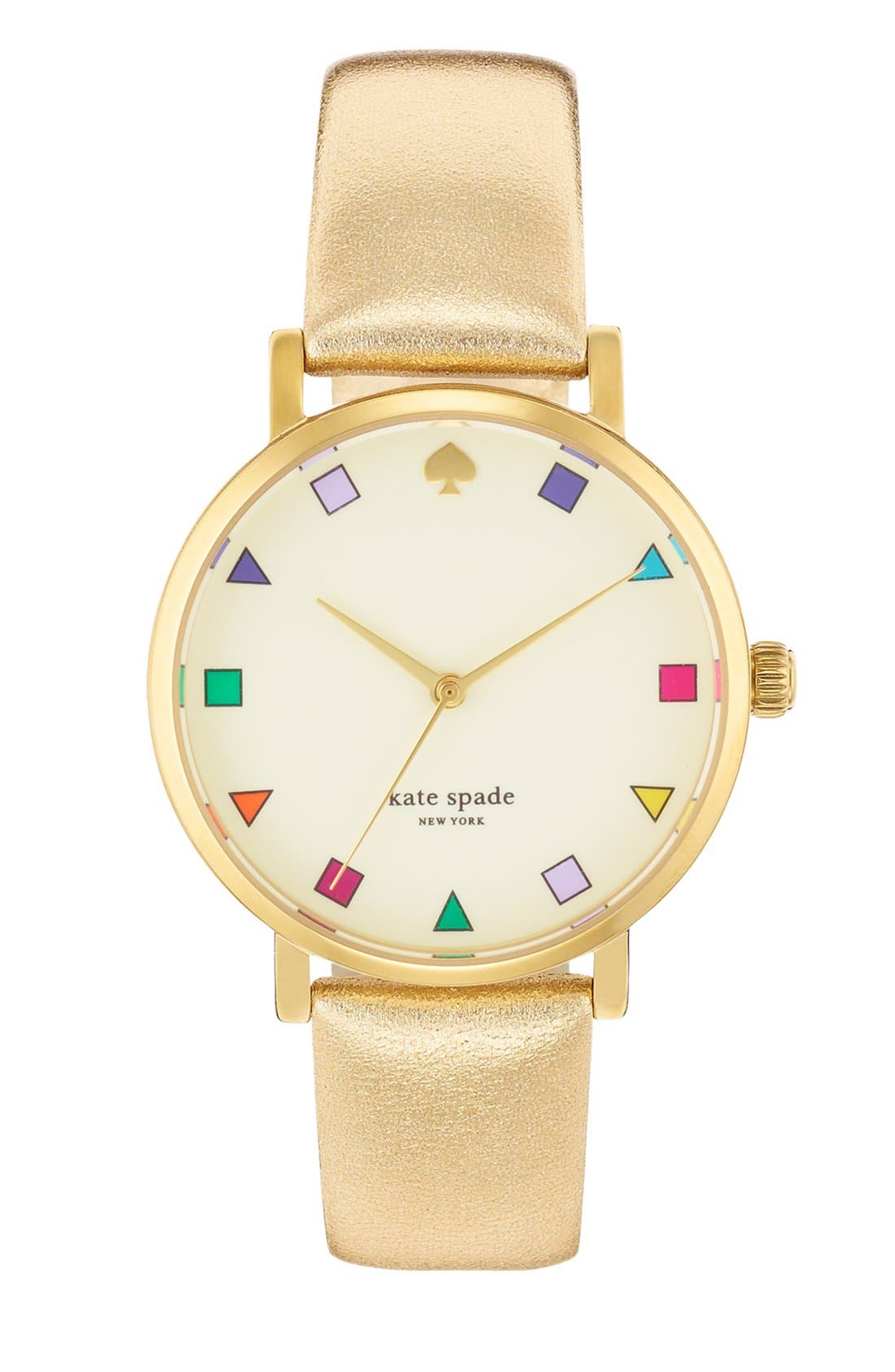 KATE SPADE NEW YORK, 'metro patchwork' leather strap watch, 34mm, Main thumbnail 1, color, 710