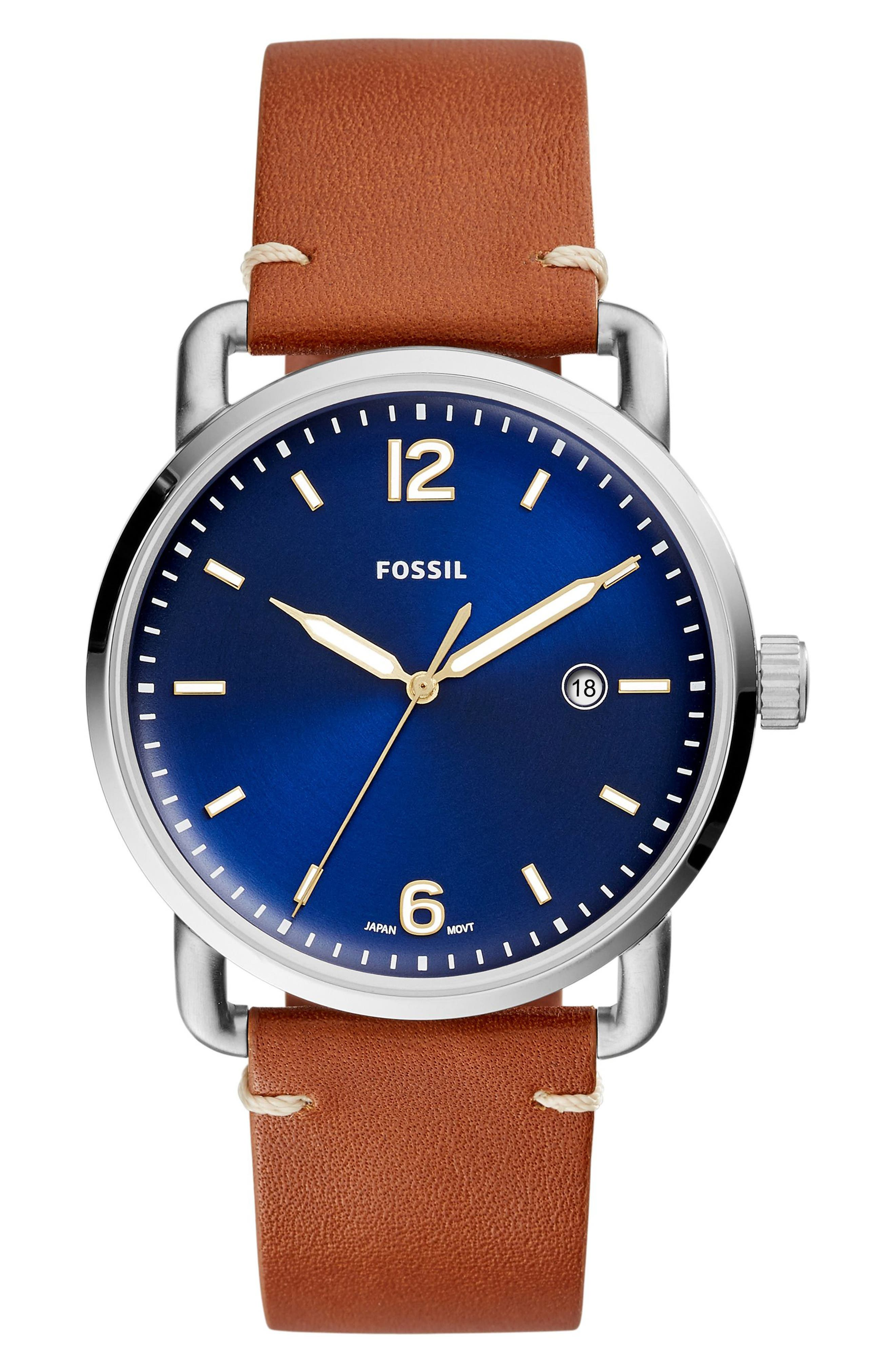 FOSSIL, The Commuter Leather Strap Watch, 42mm, Main thumbnail 1, color, BROWN/ BLUE/ SILVER