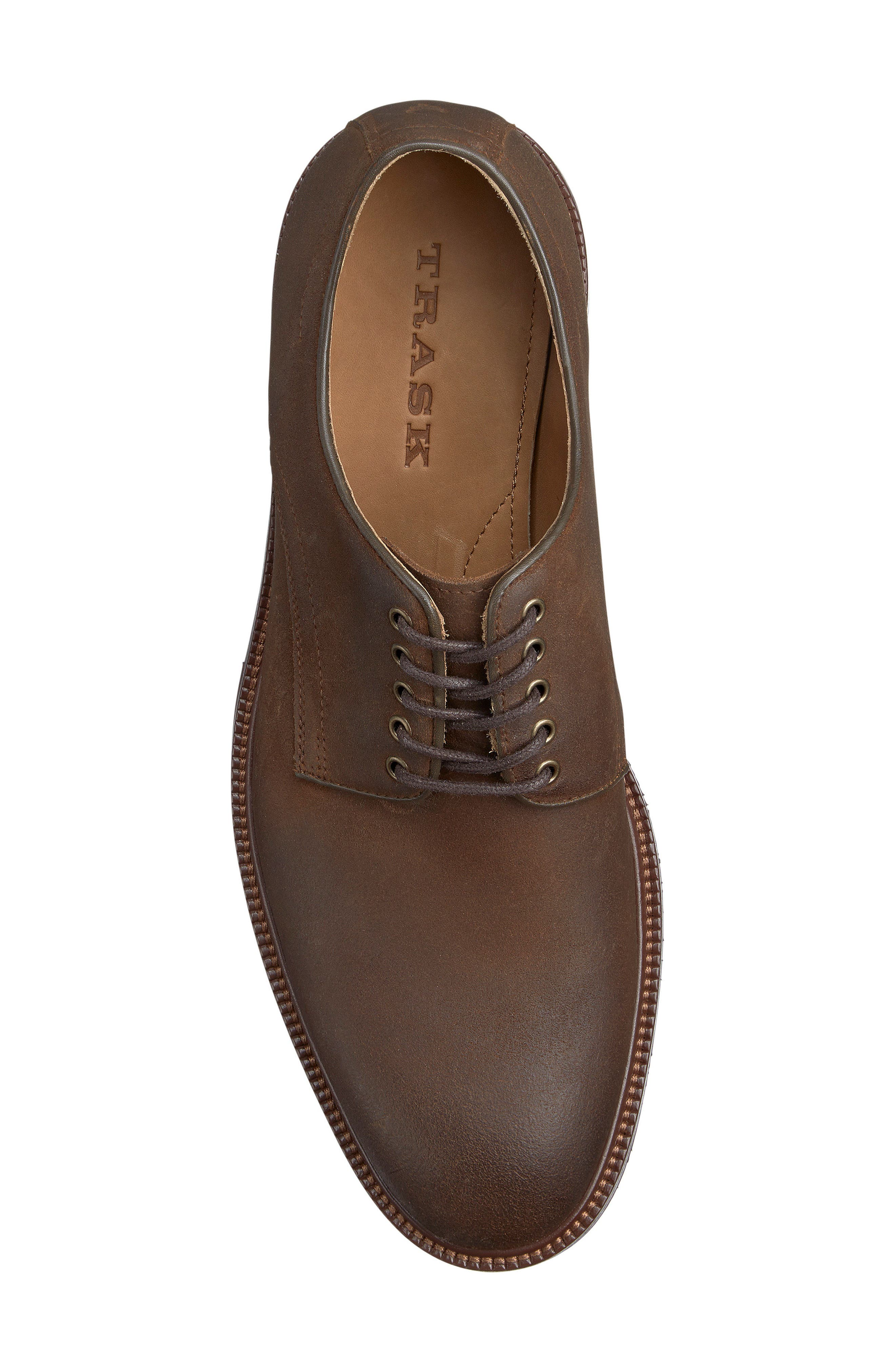 TRASK, Landry Plain Toe Derby, Alternate thumbnail 3, color, BROWN WAXED SUEDE