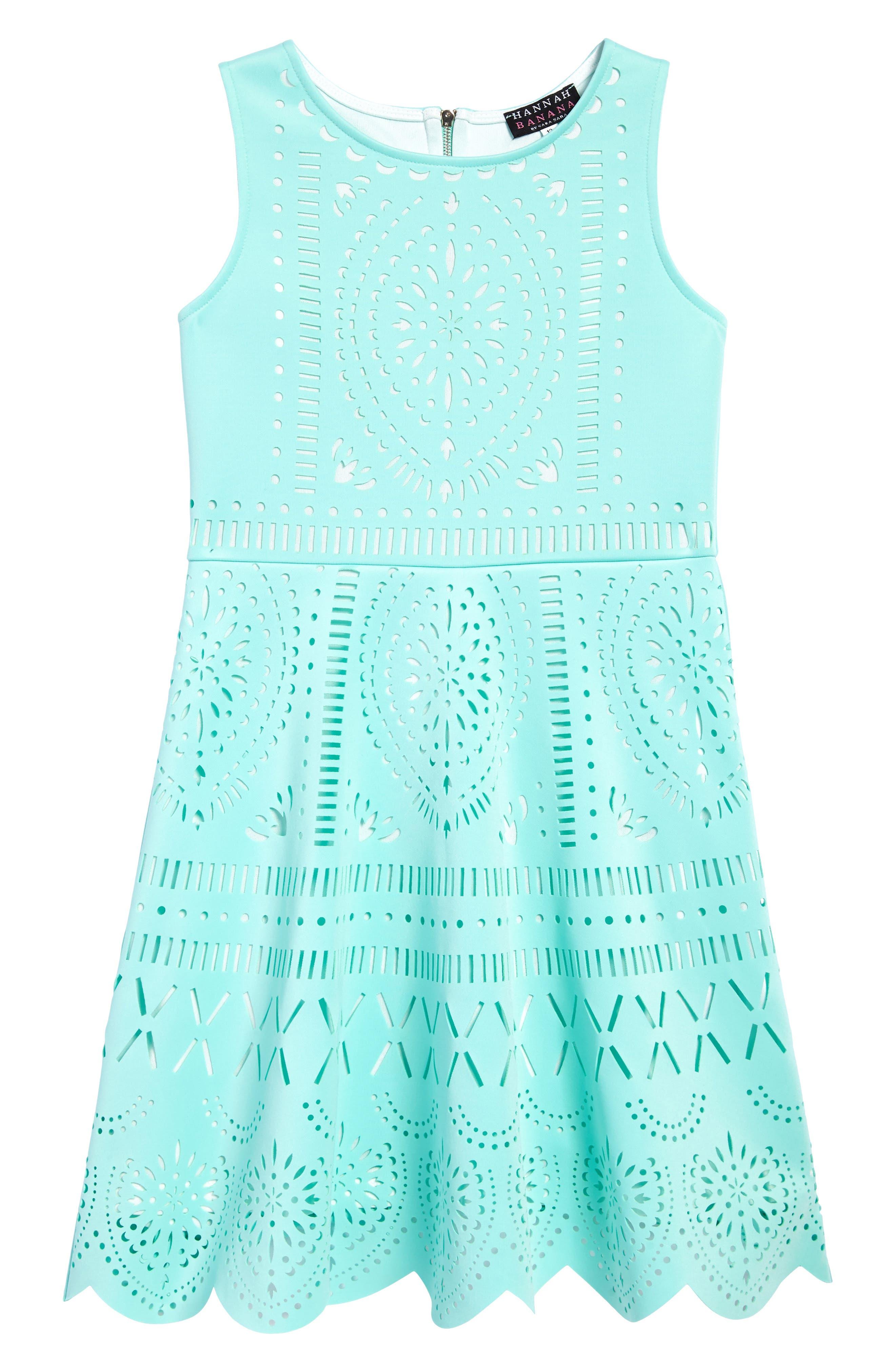 HANNAH BANANA Laser Cut Fit & Flare Dress, Main, color, 440