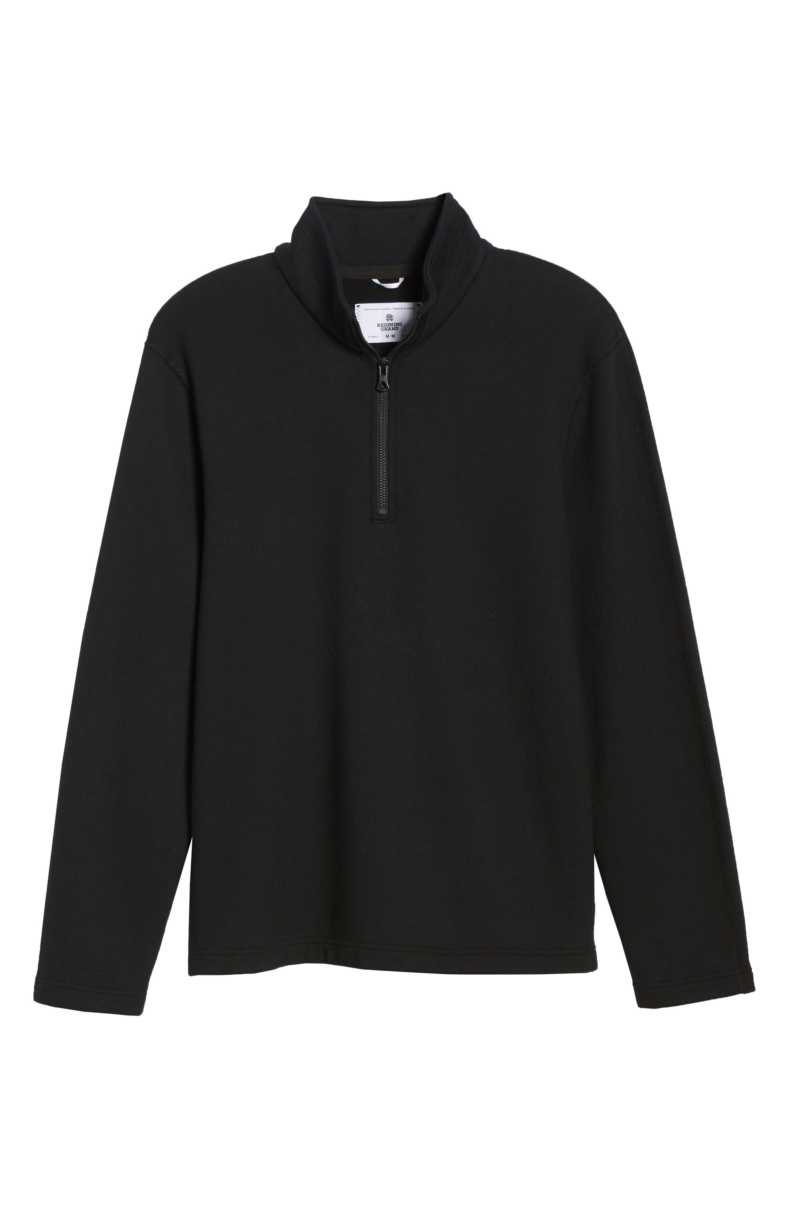 REIGNING CHAMP, Half Zip Pullover, Alternate thumbnail 6, color, 001