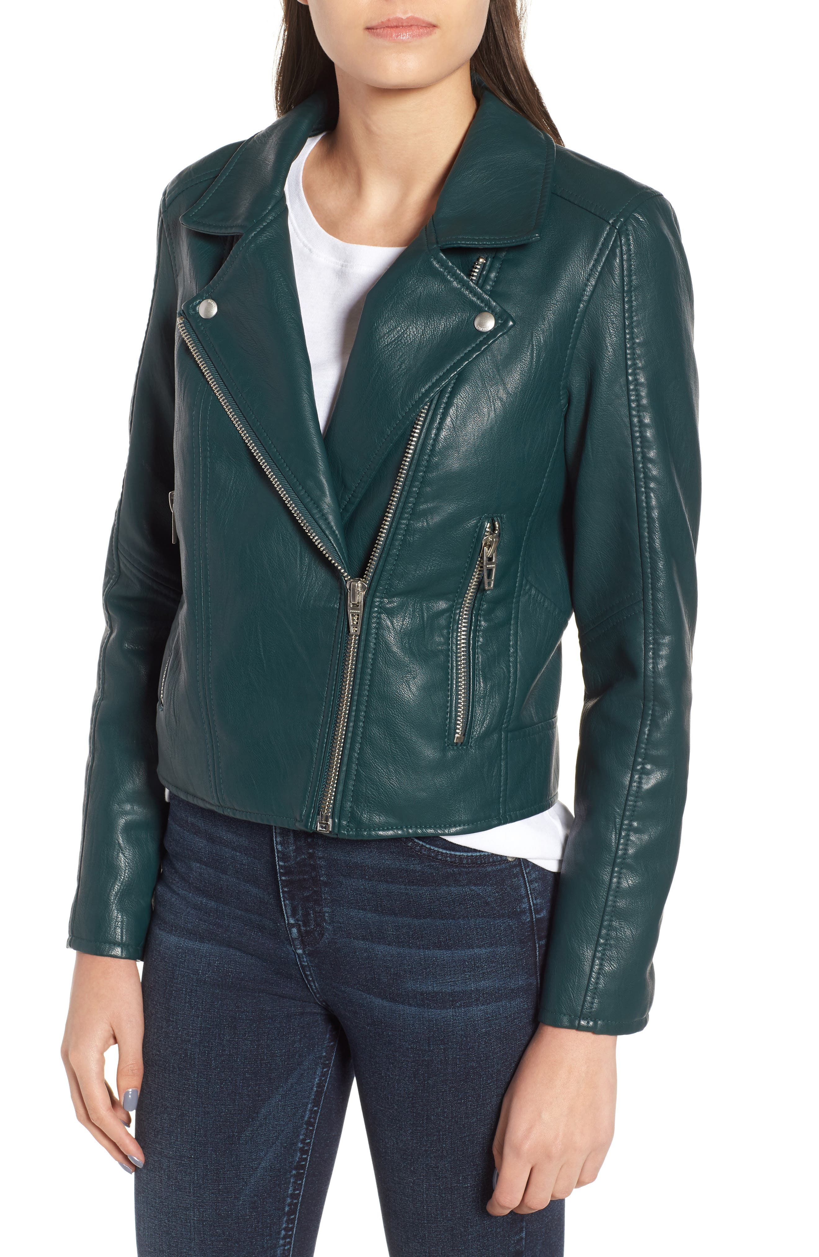 BLANKNYC, Meant to Be Moto Jacket with Removable Hood, Alternate thumbnail 5, color, EVERGREEN