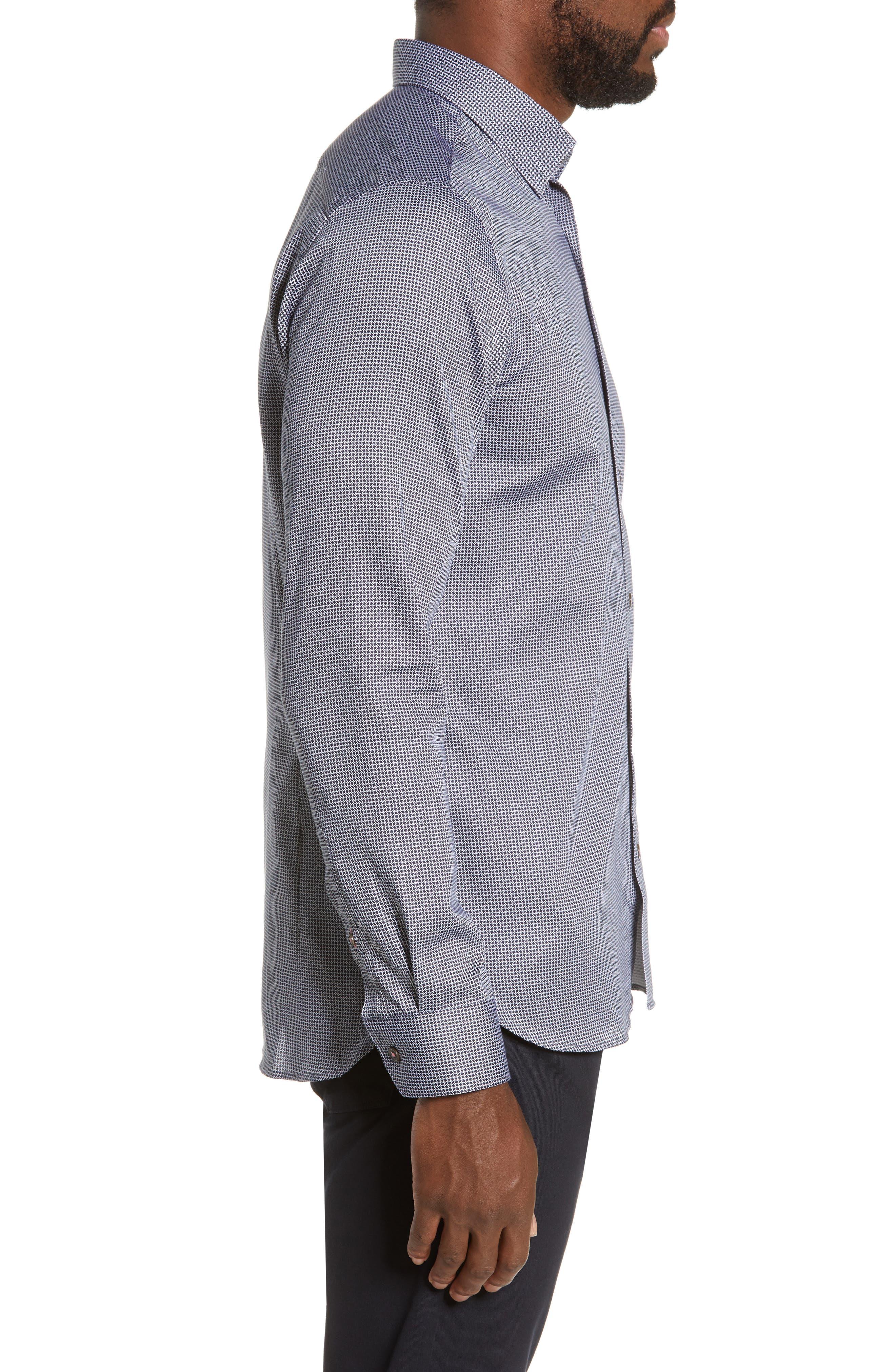 TED BAKER LONDON, Bloosem Slim Fit Print Sport Shirt, Alternate thumbnail 4, color, NAVY