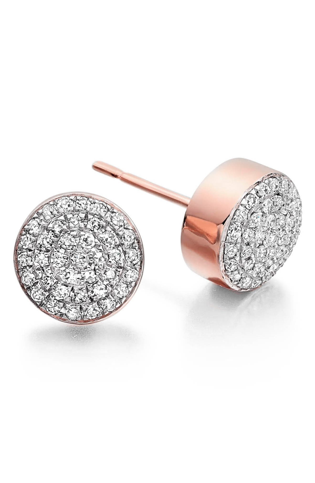 MONICA VINADER, 'Ava' Diamond Button Stud Earrings, Main thumbnail 1, color, ROSE GOLD
