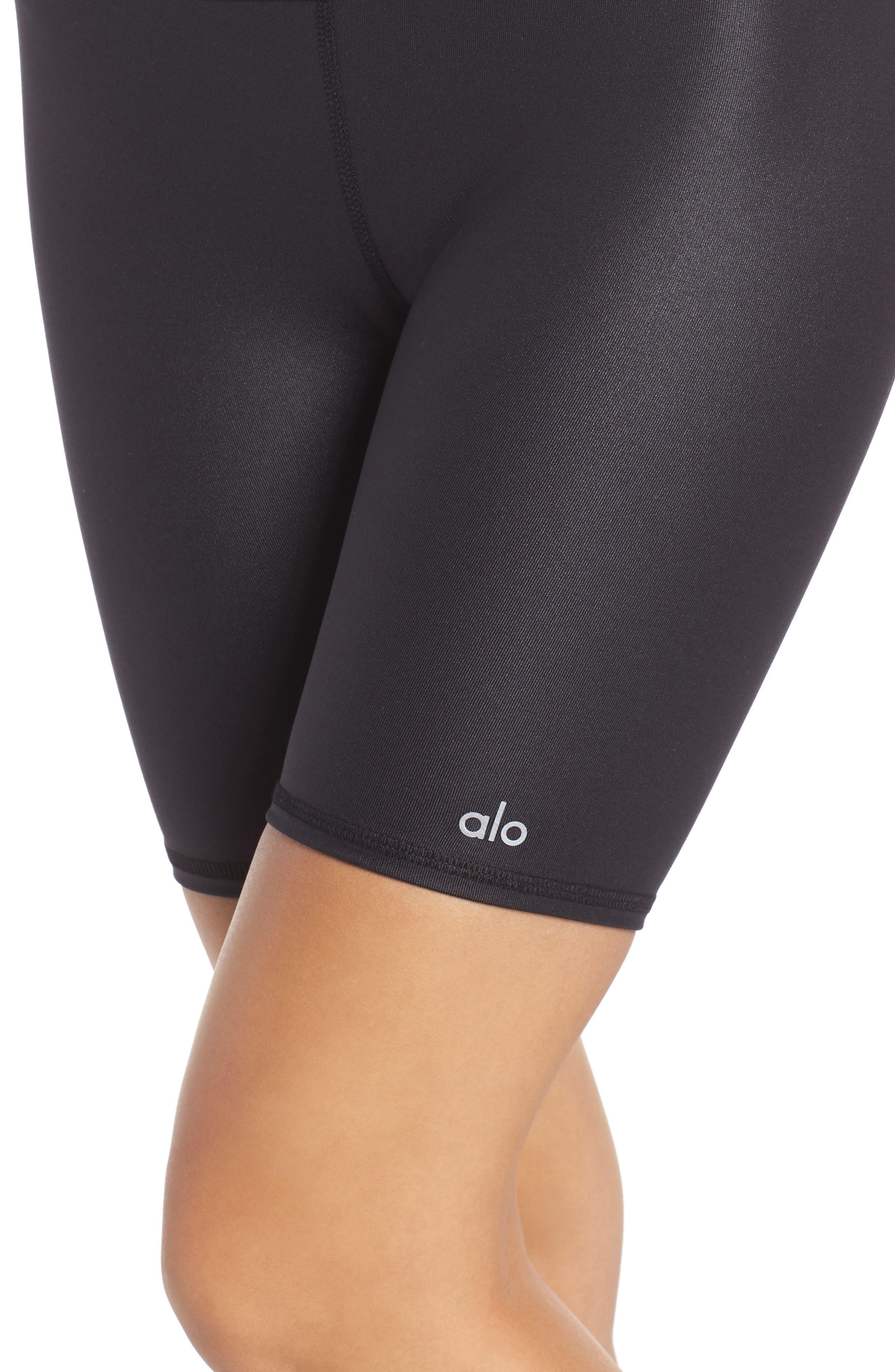 ALO, High Waist Biker Shorts, Alternate thumbnail 5, color, BLACK GLOSSY