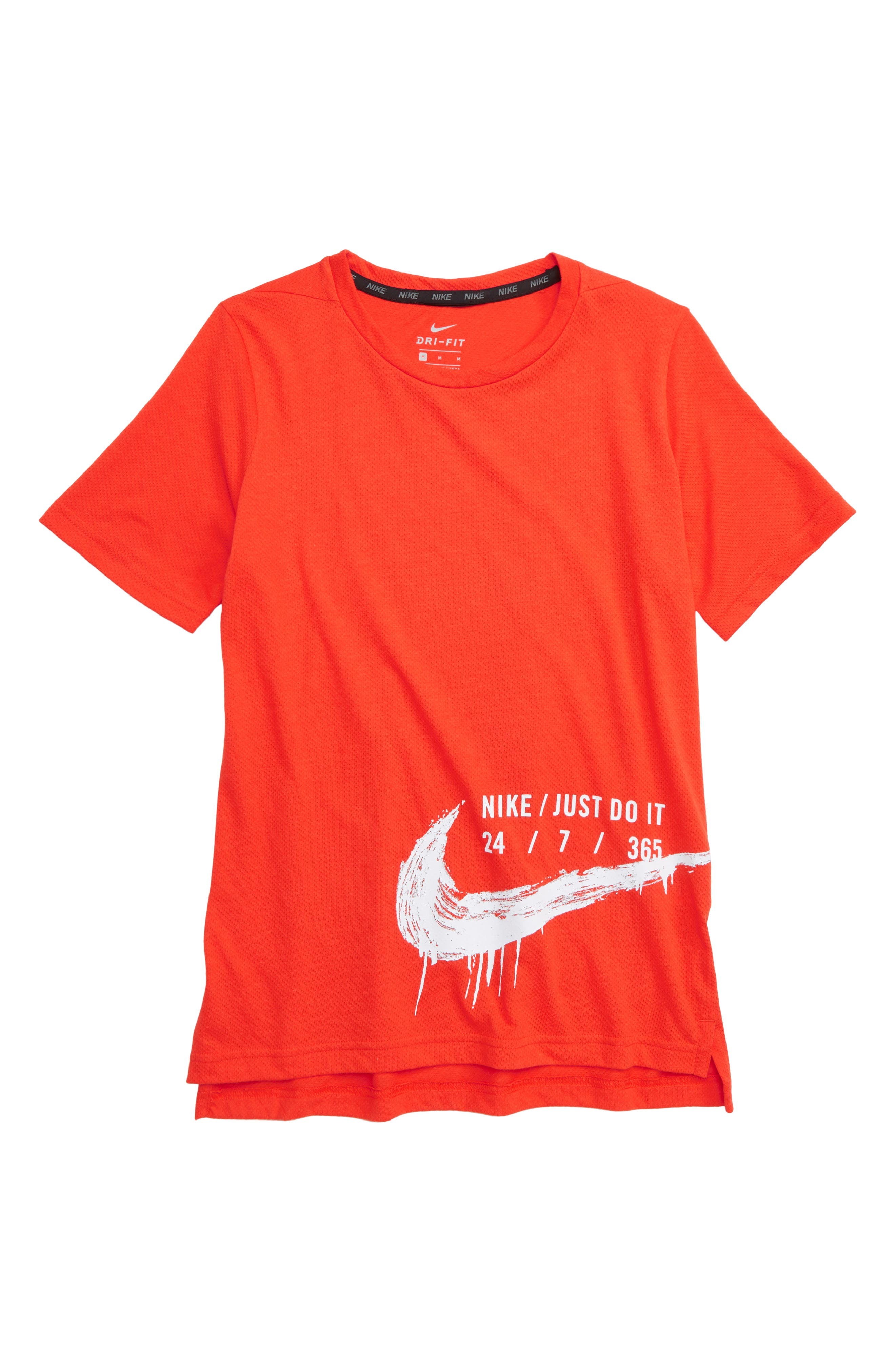 NIKE, Breathe Sport Top, Main thumbnail 1, color, HABANERO RED/ WHITE