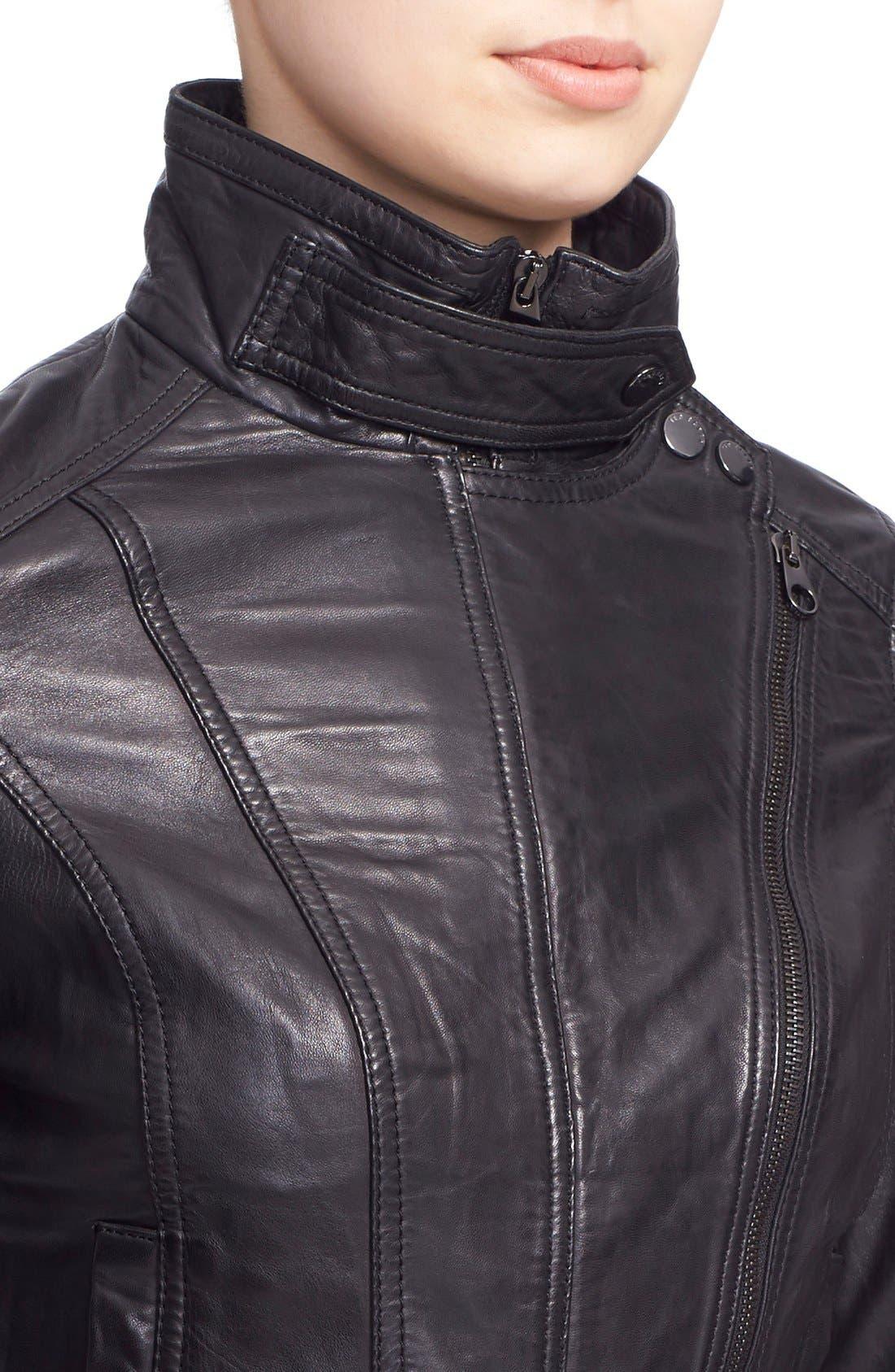 TED BAKER LONDON, 'Roark' Stand Collar Leather Jacket, Alternate thumbnail 4, color, 001
