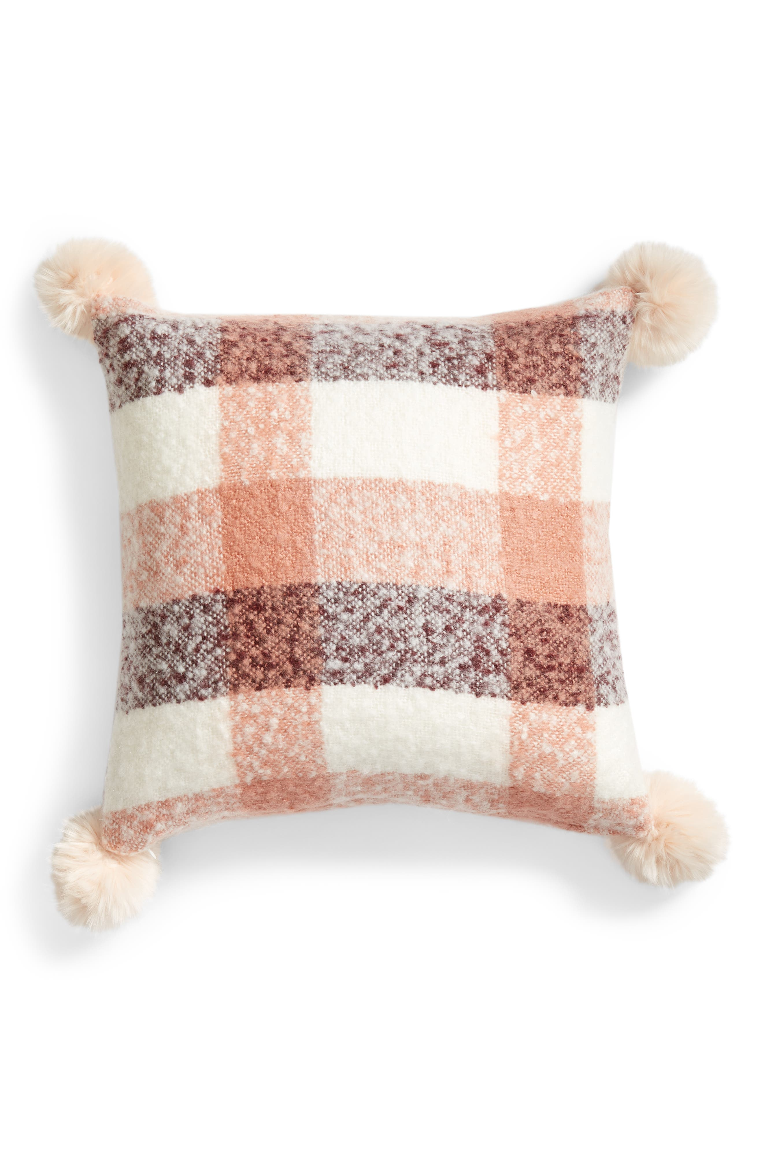 NORDSTROM AT HOME, Brushed Faux Fur Pom Accent Pillow, Alternate thumbnail 2, color, PINK DAWN MULTI