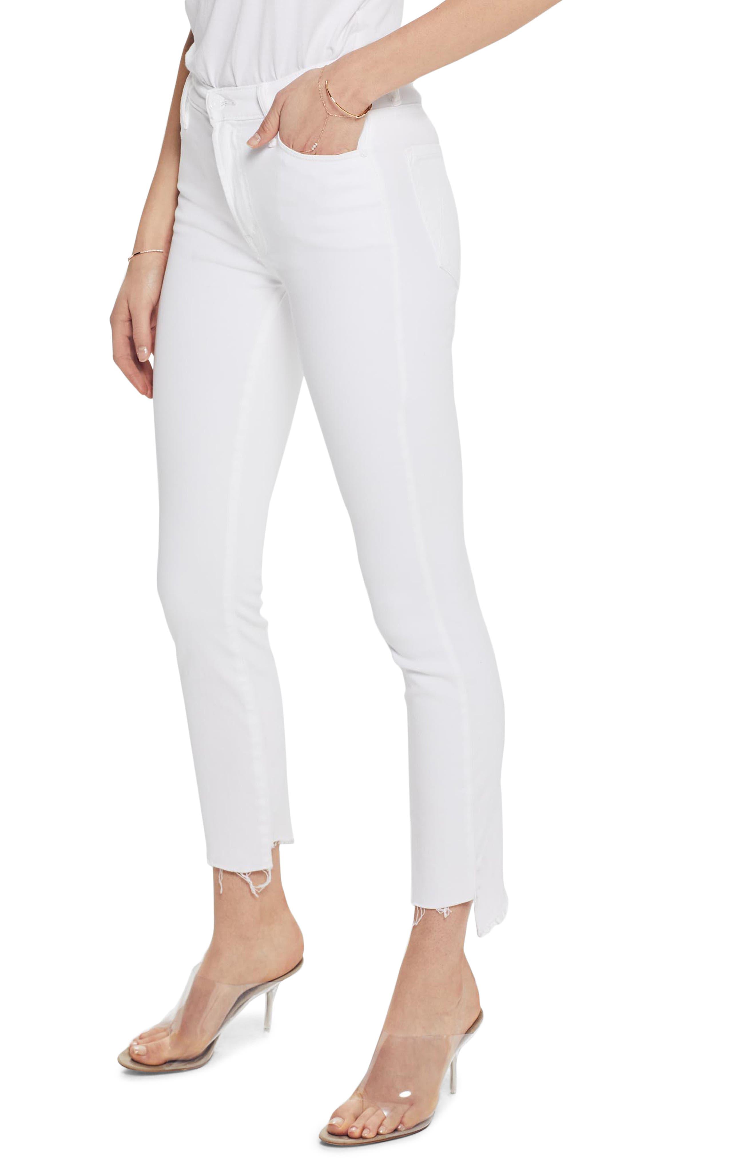 MOTHER, The Stunner Frayed Step Hem Skinny Jeans, Main thumbnail 1, color, GLASS SLIPPER