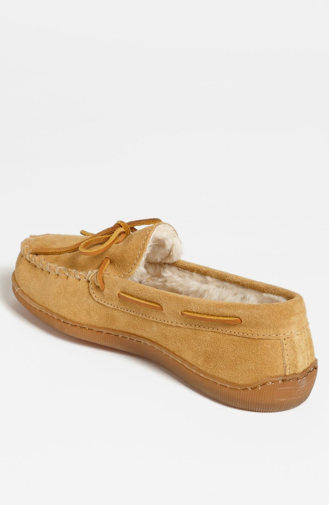 MINNETONKA, Suede Moccasin, Alternate thumbnail 2, color, TAN SUEDE