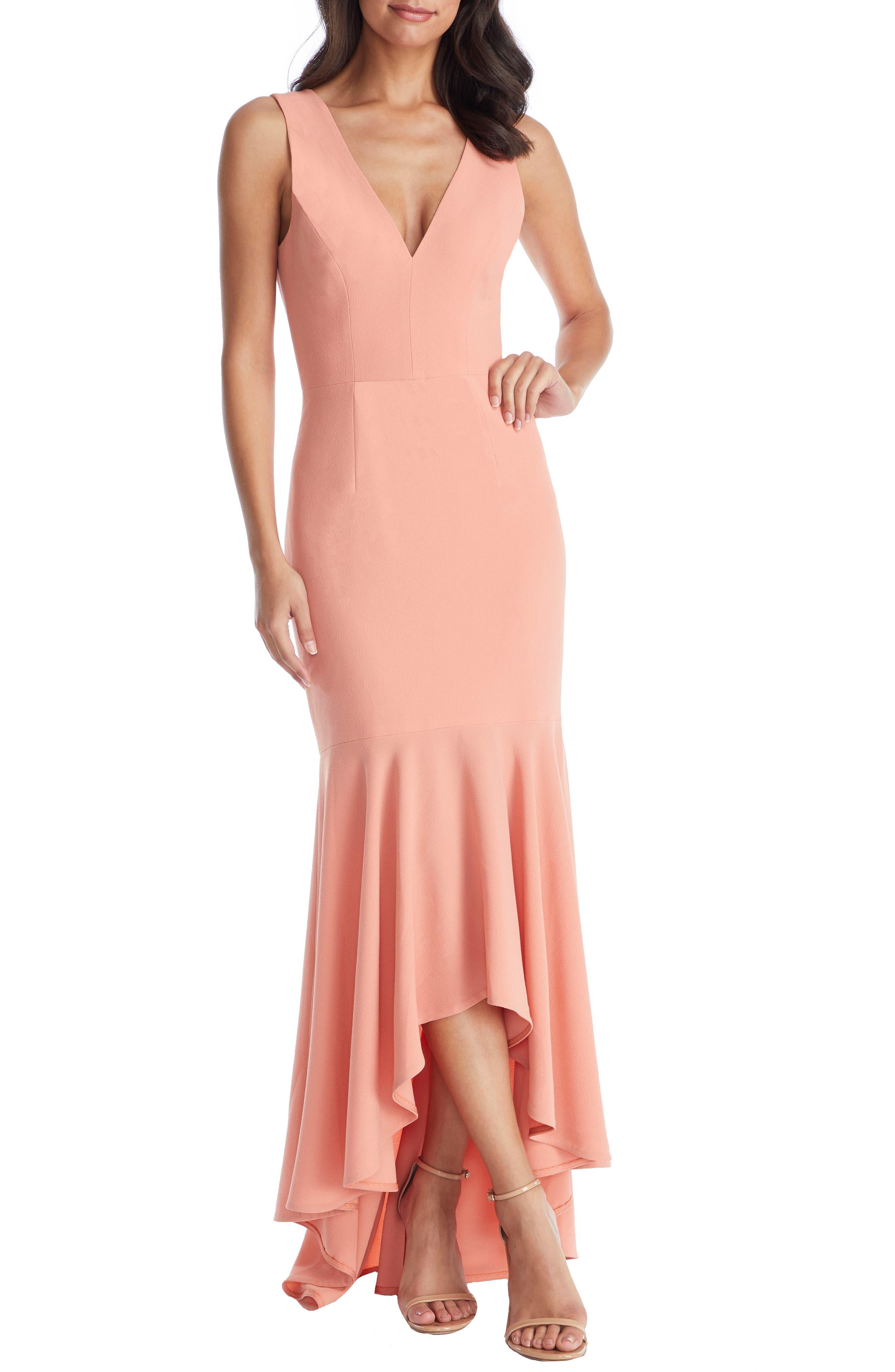 Dress The Population Demi High/low Mermaid Hem Evening Dress, Coral