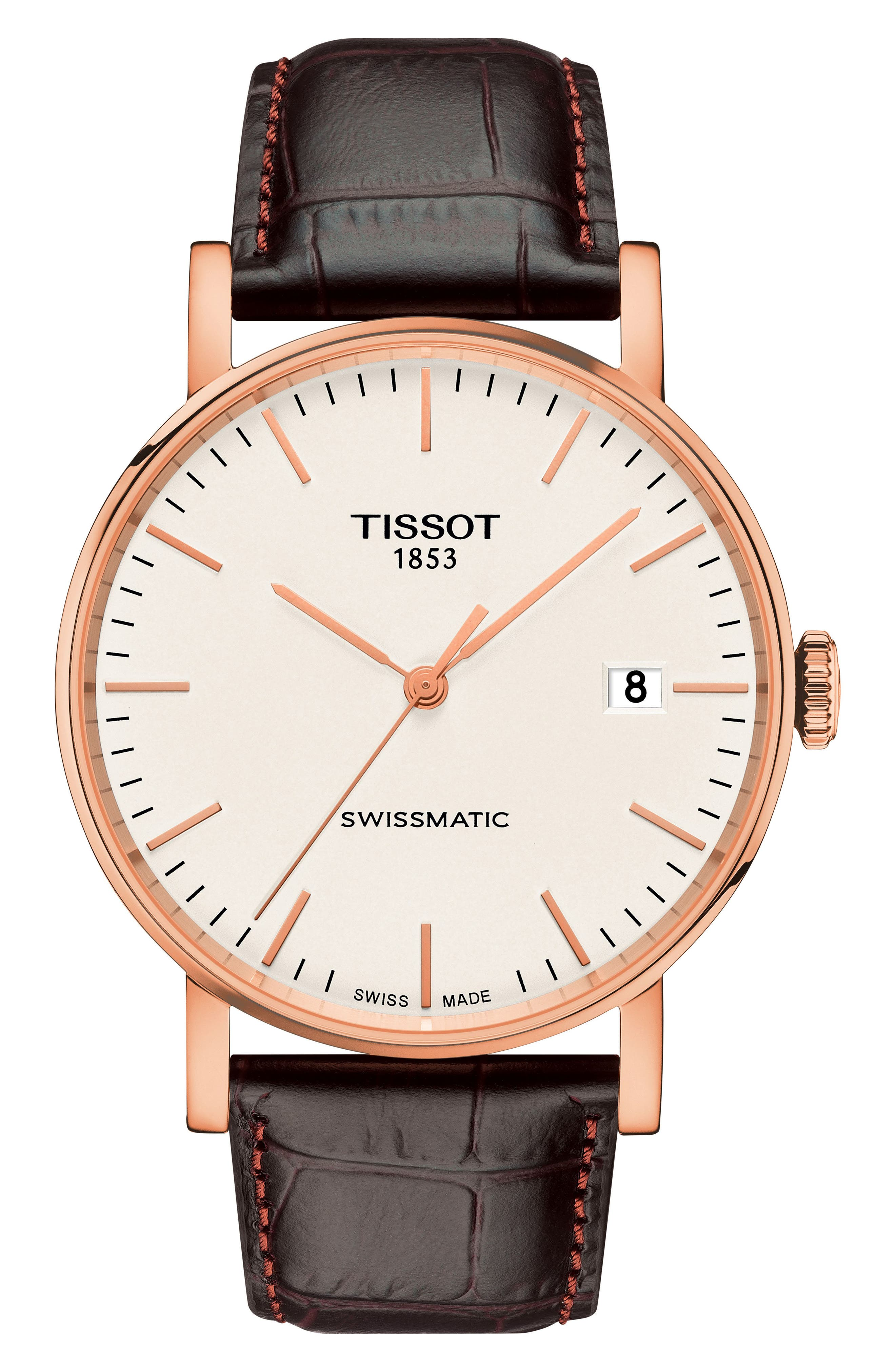 TISSOT, Everytime Swissmatic Leather Strap Watch, 40mm, Main thumbnail 1, color, BROWN/ WHITE/ ROSE GOLD