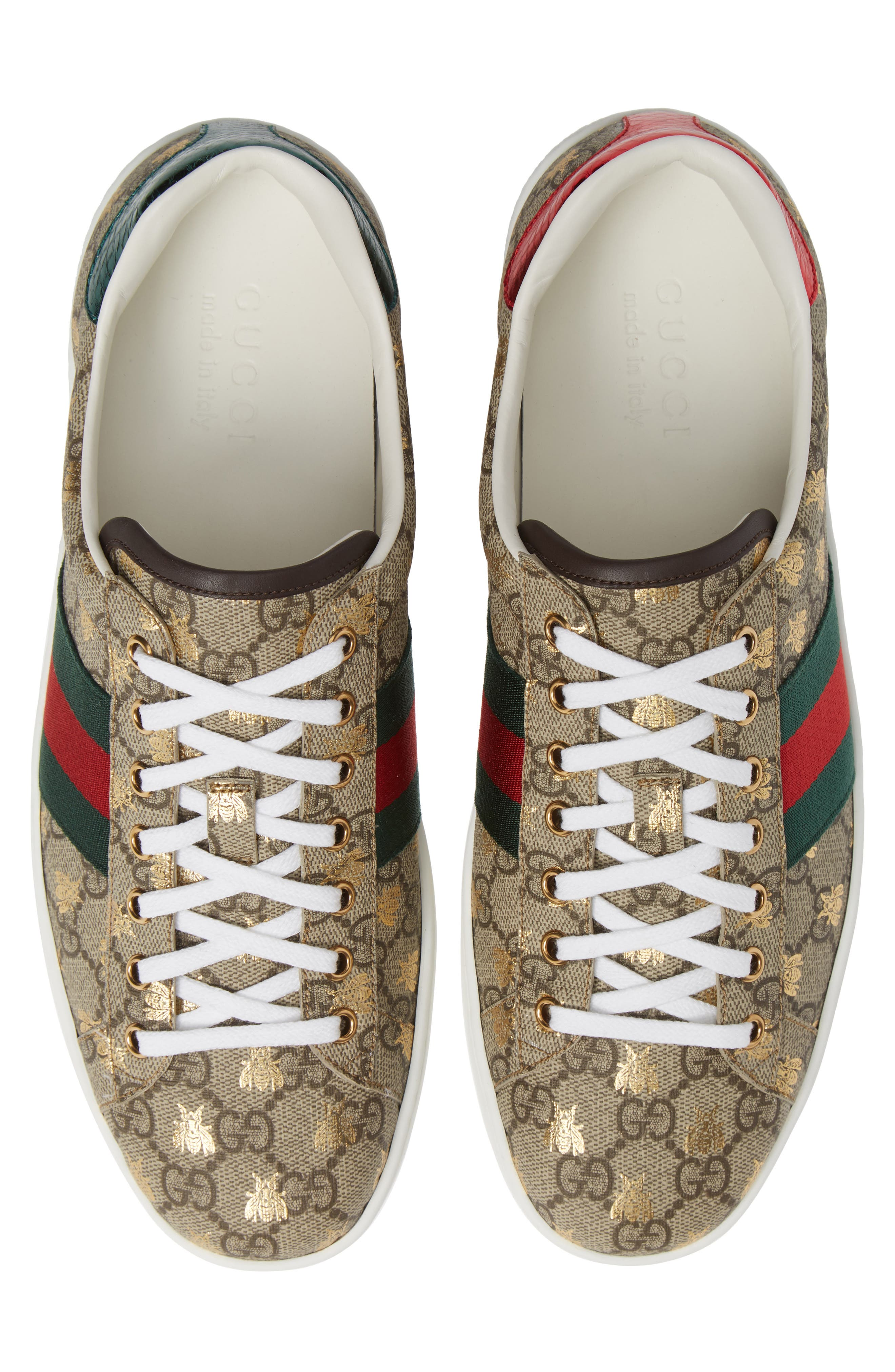 GUCCI, New Ace GG Supreme Sneaker, Alternate thumbnail 5, color, BEIGE/ GOLD