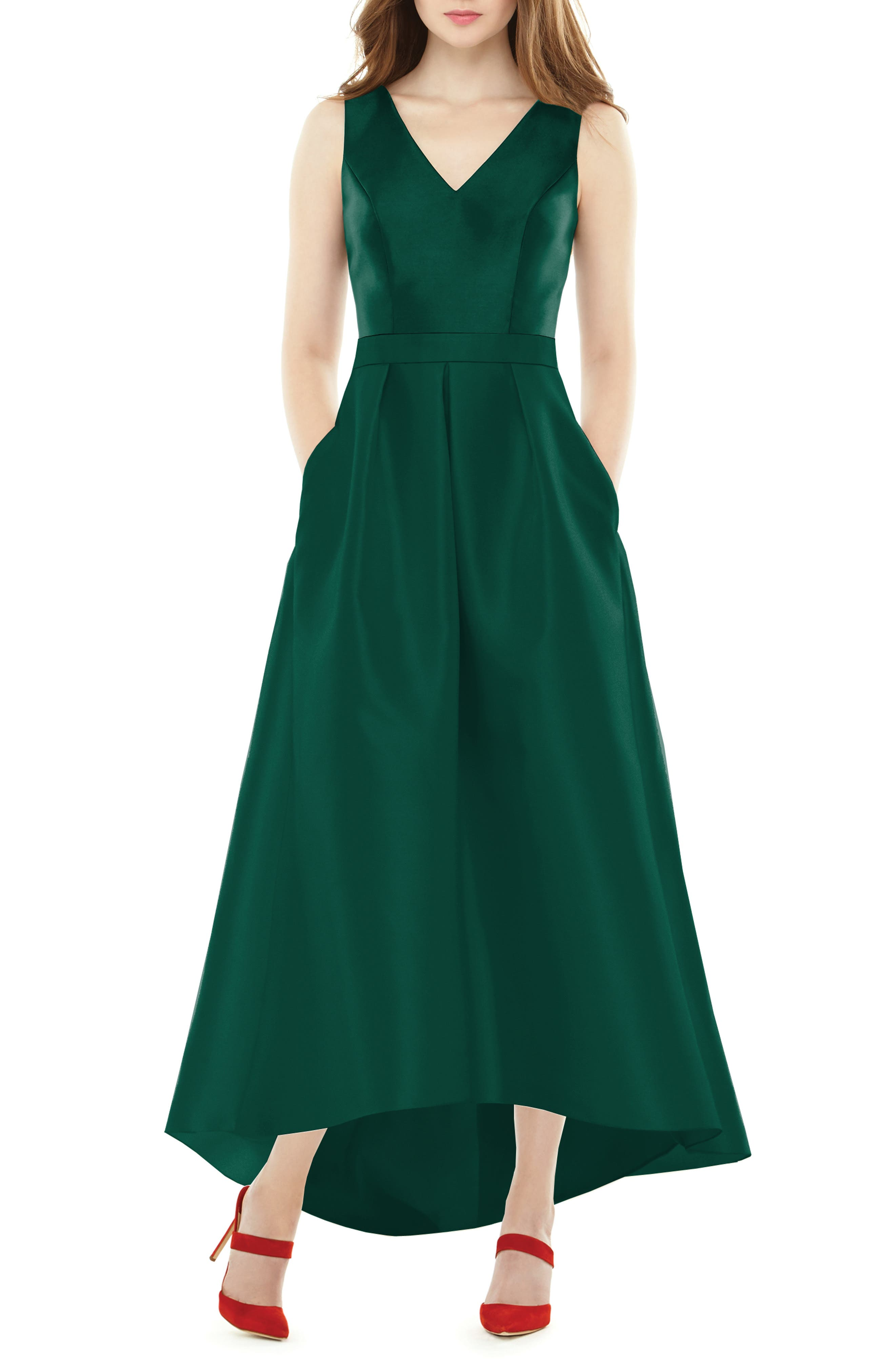 ALFRED SUNG High/Low Sateen Twill Gown, Main, color, HUNTER