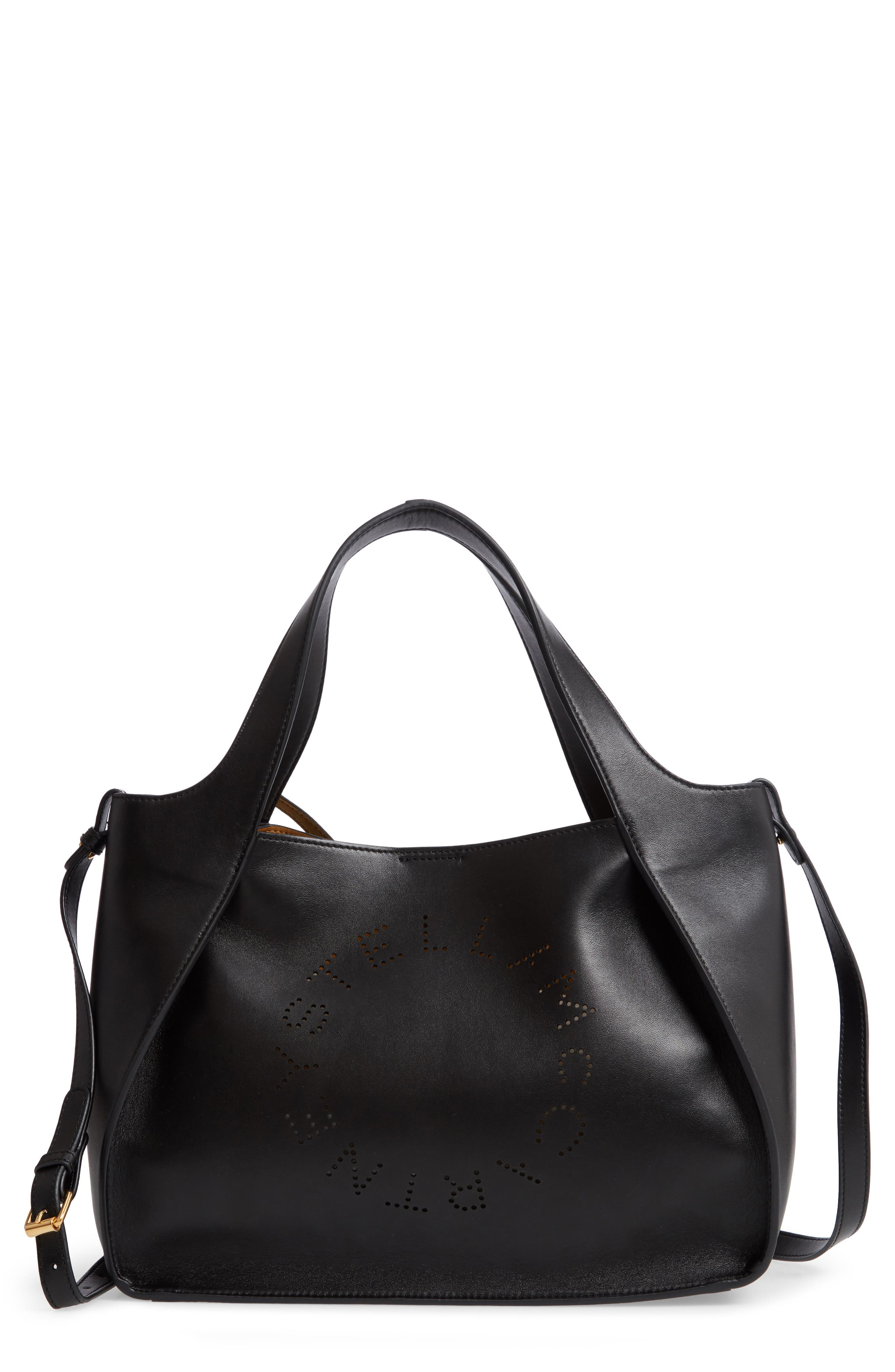 STELLA MCCARTNEY, Perforated Logo Faux Leather Satchel, Main thumbnail 1, color, BLACK