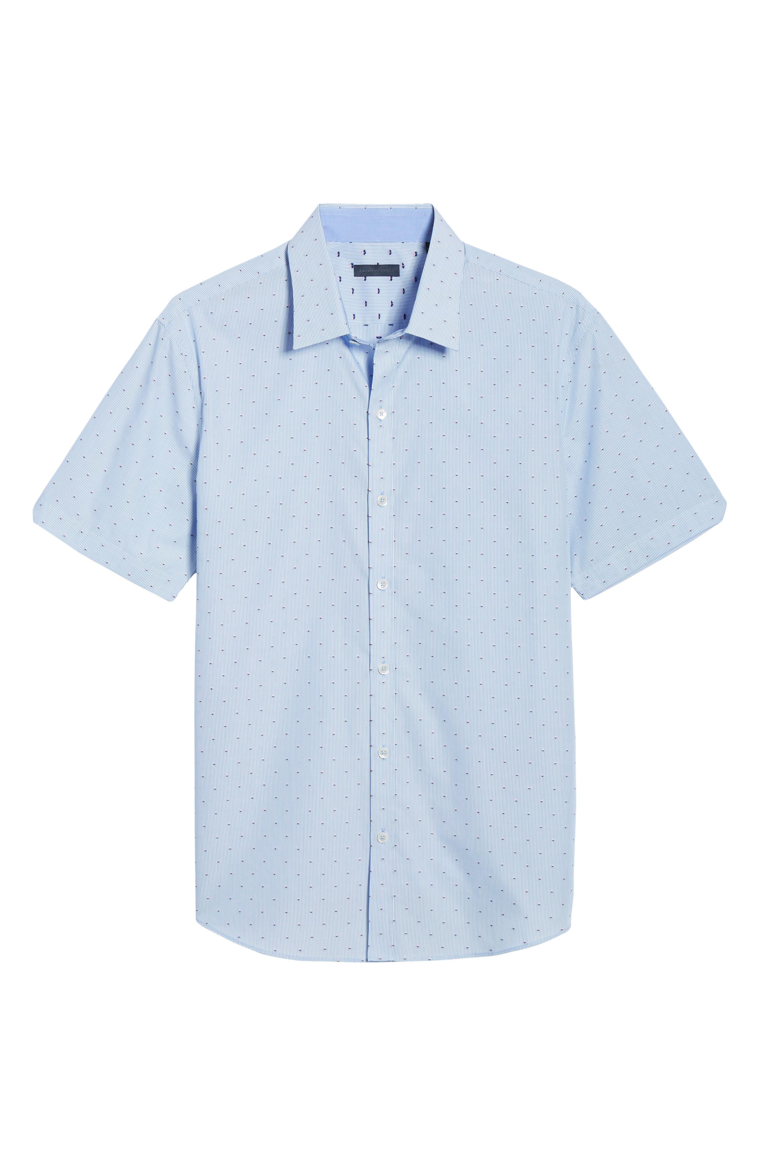 ZACHARY PRELL, Grogan Regular Fit Dobby Stripe Sport Shirt, Alternate thumbnail 5, color, BLUE
