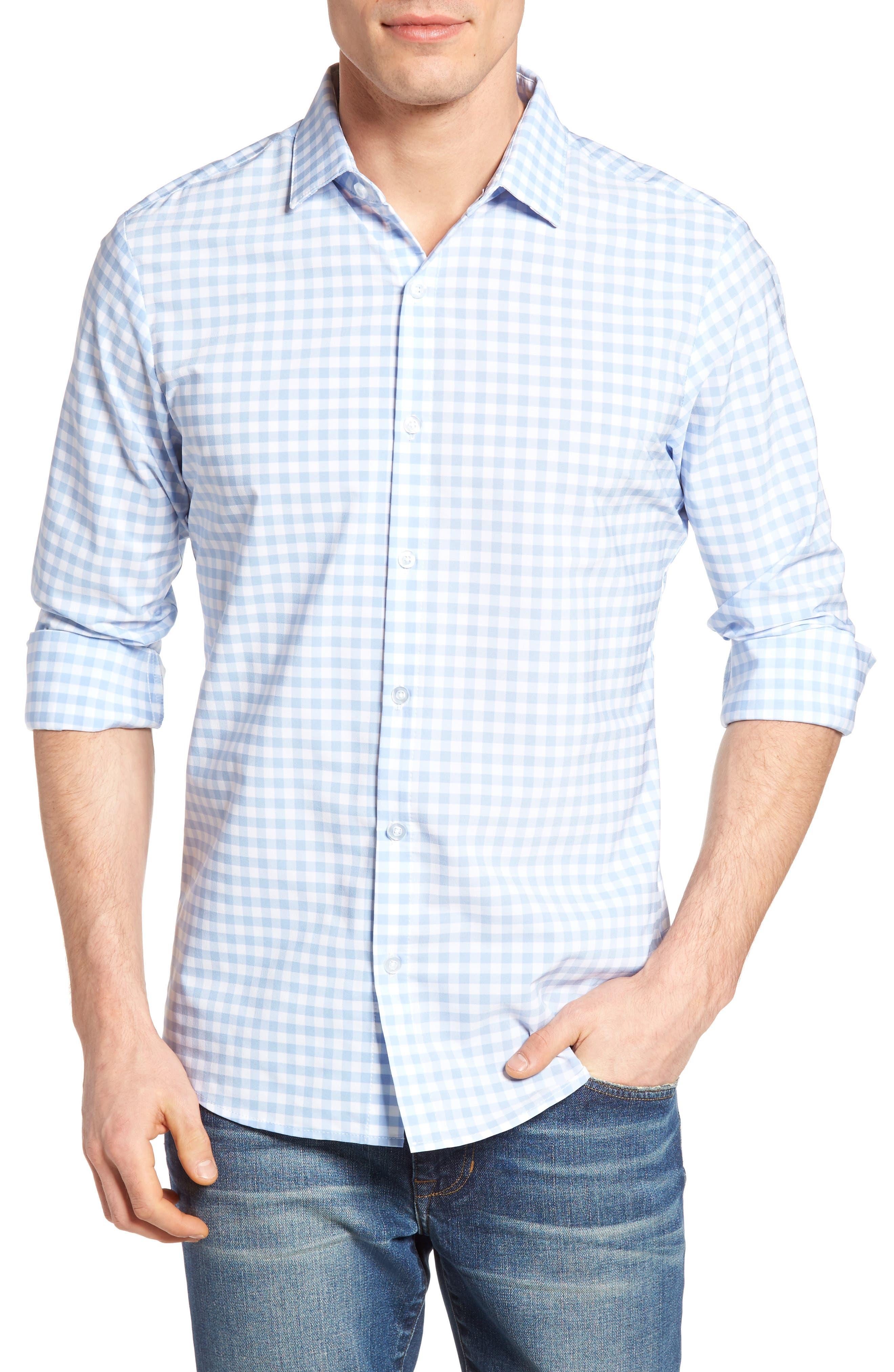 MIZZEN+MAIN, Hampton Trim Fit Gingham Performance Sport Shirt, Main thumbnail 1, color, BLUE