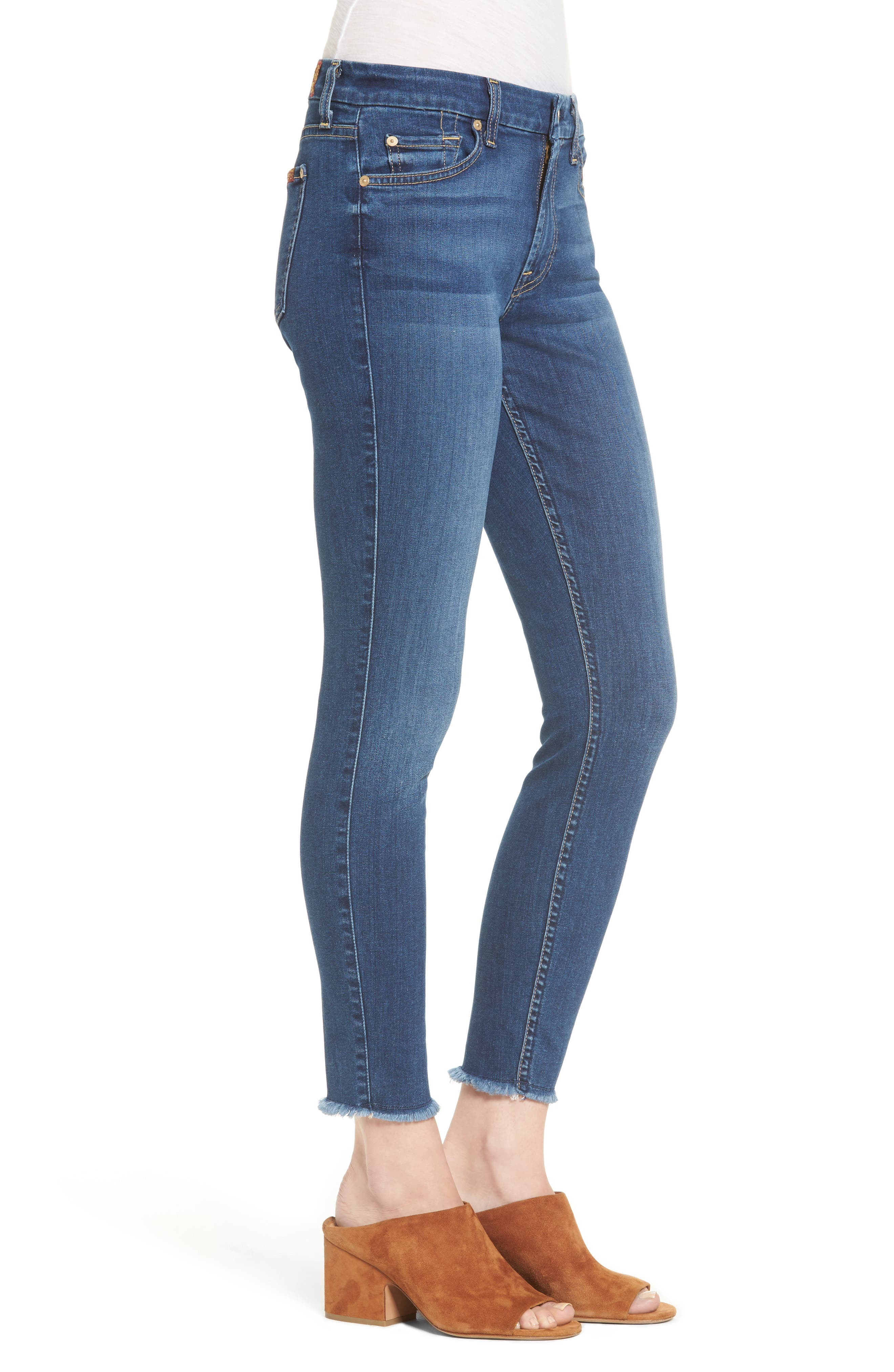 7 FOR ALL MANKIND<SUP>®</SUP>, b(air) Raw Hem Ankle Skinny Jeans, Alternate thumbnail 3, color, BAIR REIGN