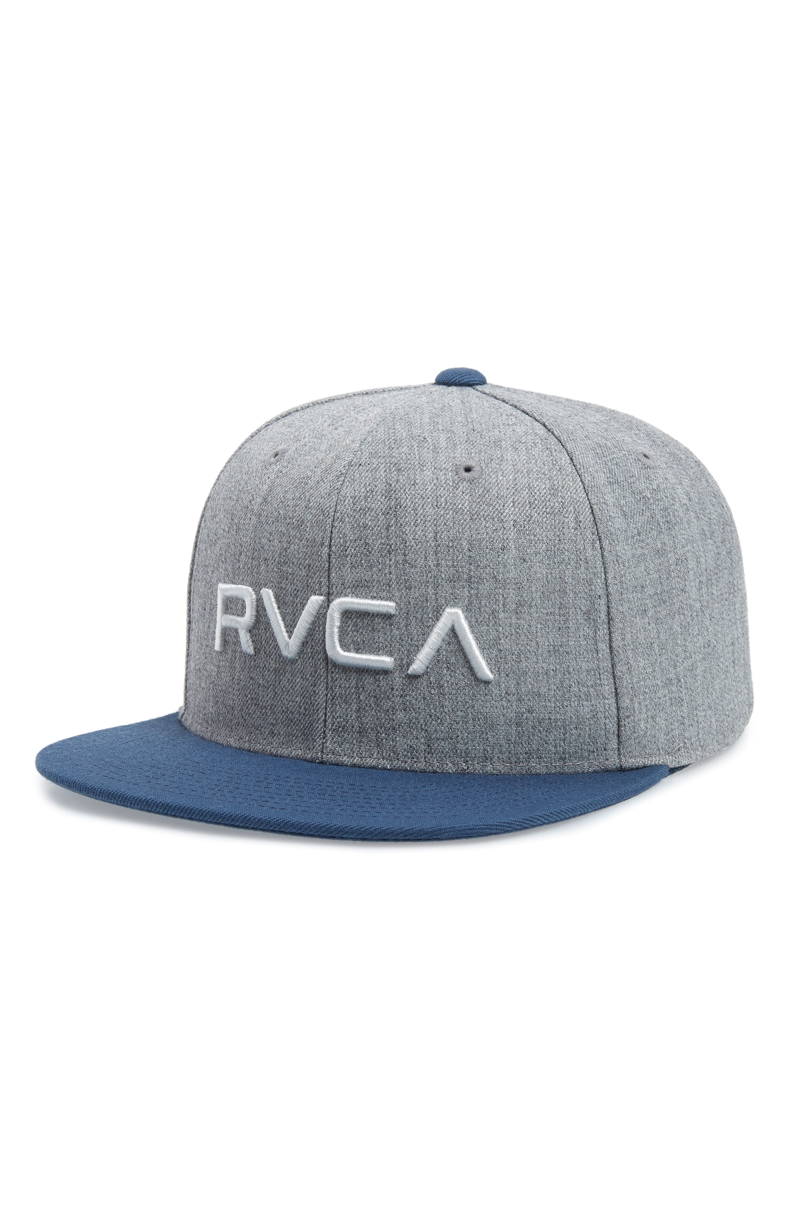 RVCA Twill Snapback Baseball Cap, Main, color, GREY BLUE