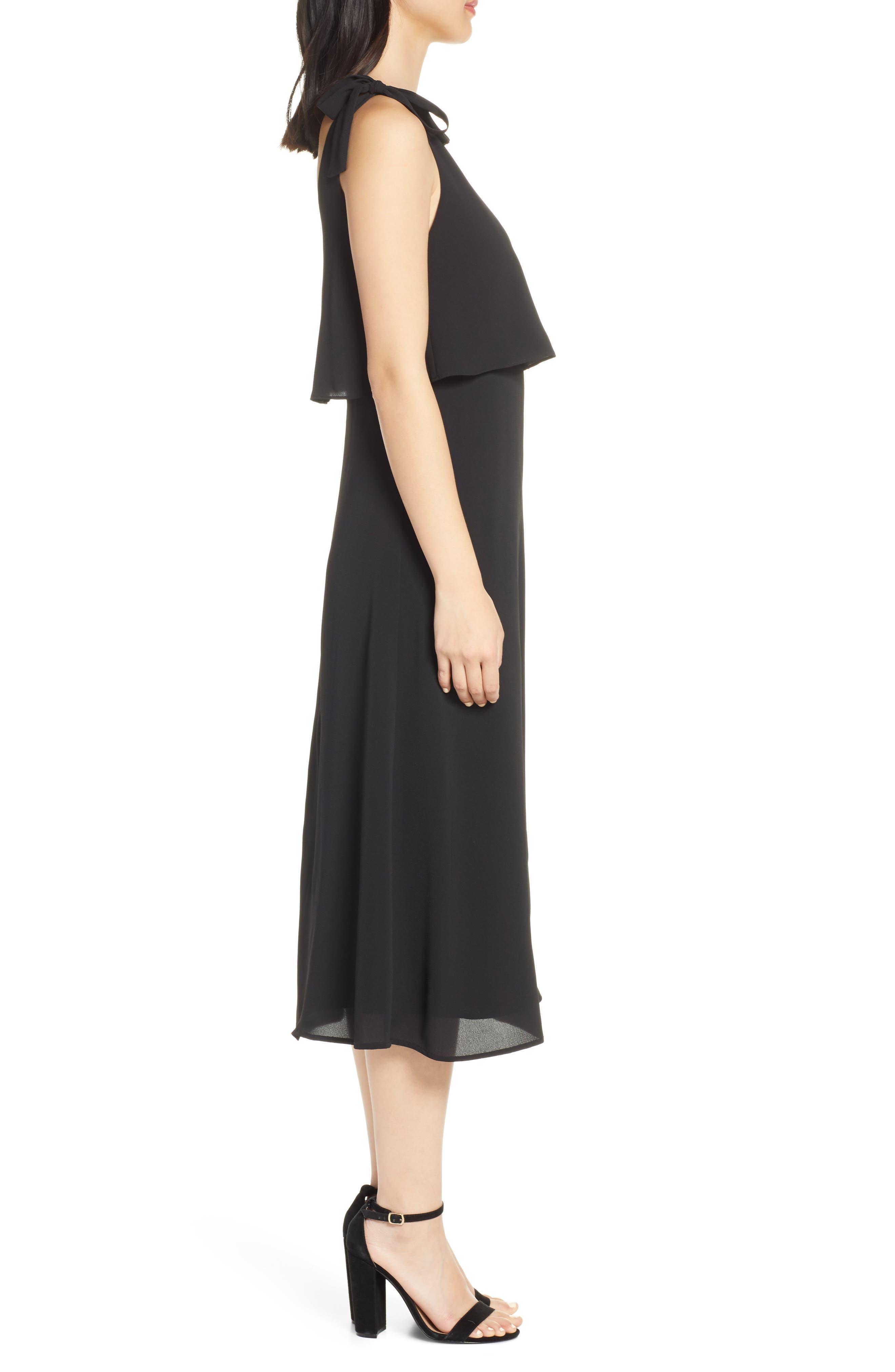 CHARLES HENRY, Tie Shoulder Popover Midi Dress, Alternate thumbnail 4, color, BLACK