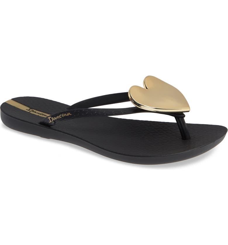 fc211a3378aa Ipanema Women s Wave Heart Flip-Flops In Black  Gold