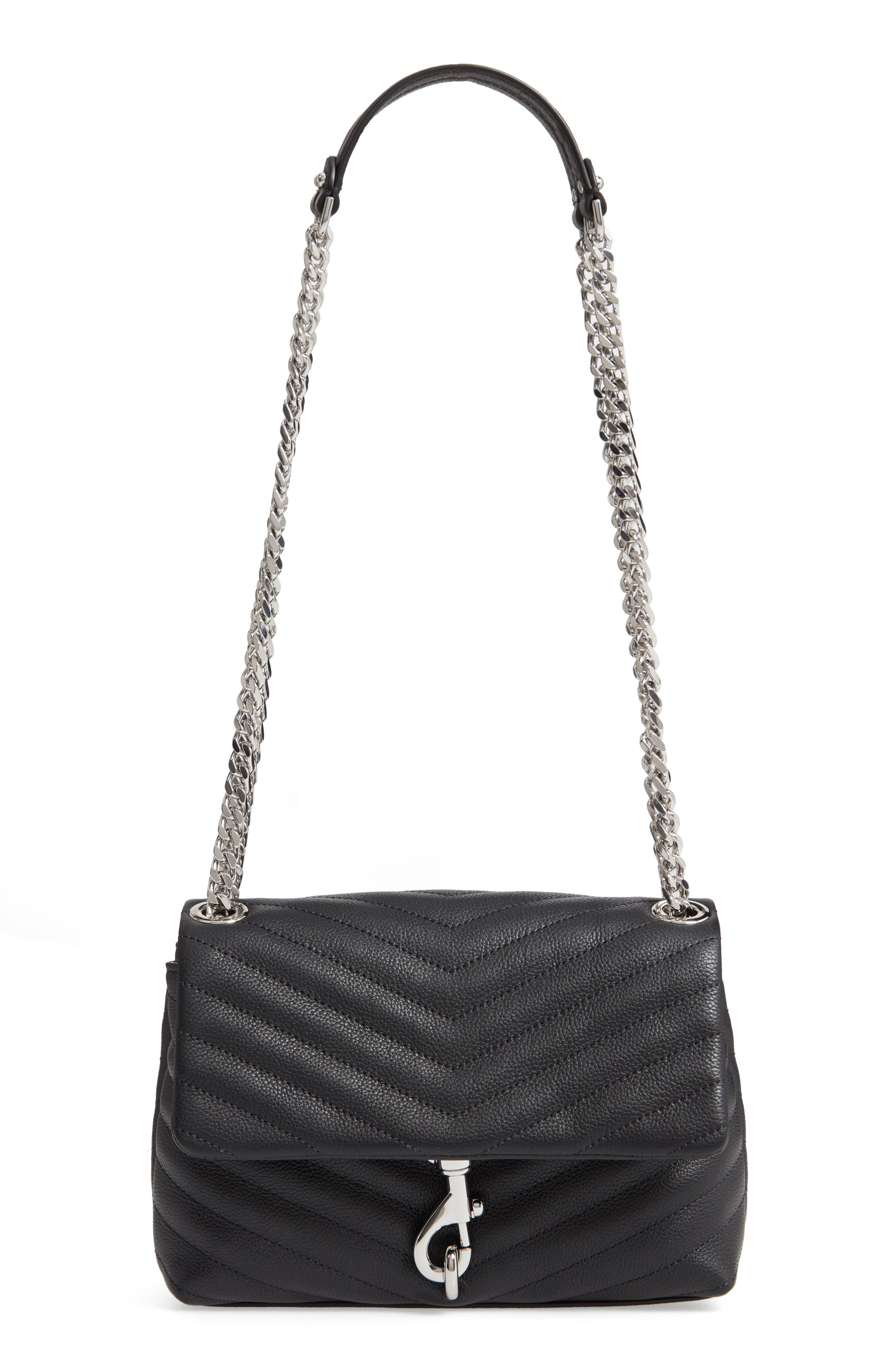 REBECCA MINKOFF Edie Quilted Leather Crossbody Bag, Main, color, BLACK