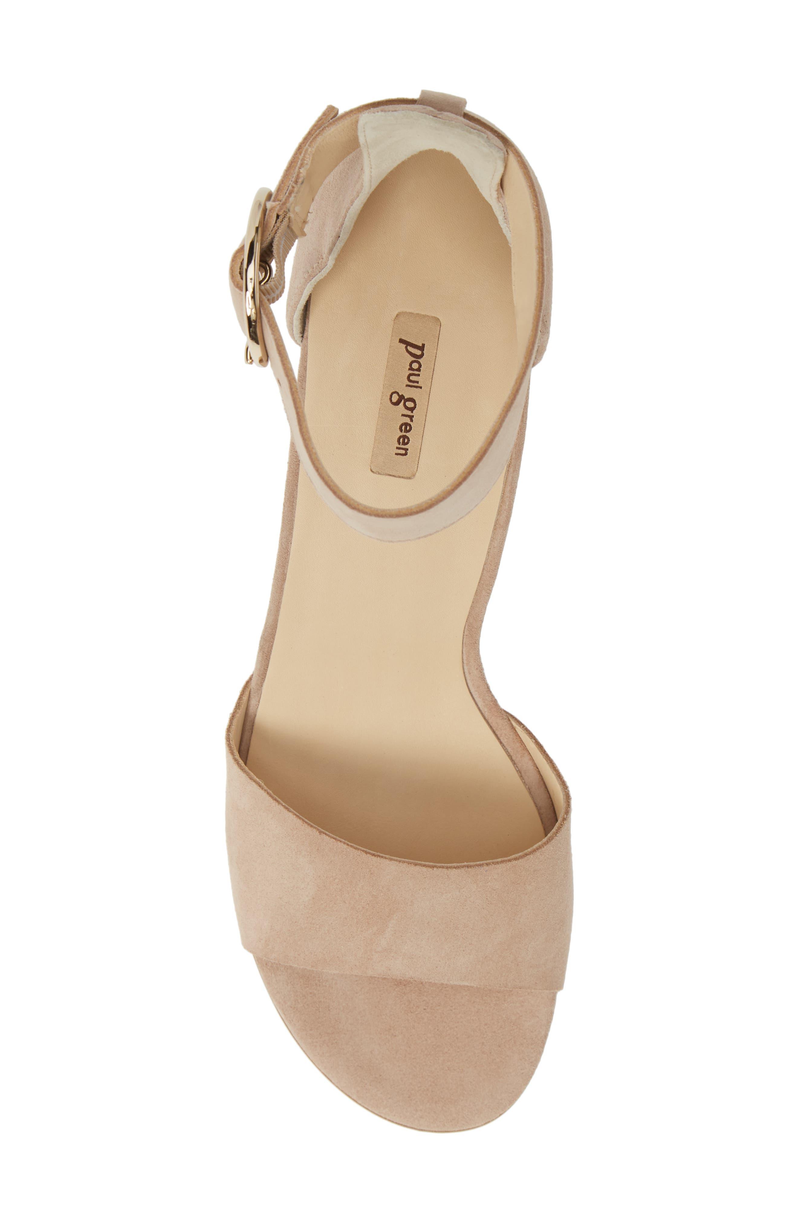 PAUL GREEN, Velma Ankle Strap Sandal, Alternate thumbnail 5, color, SAHARA SUEDE