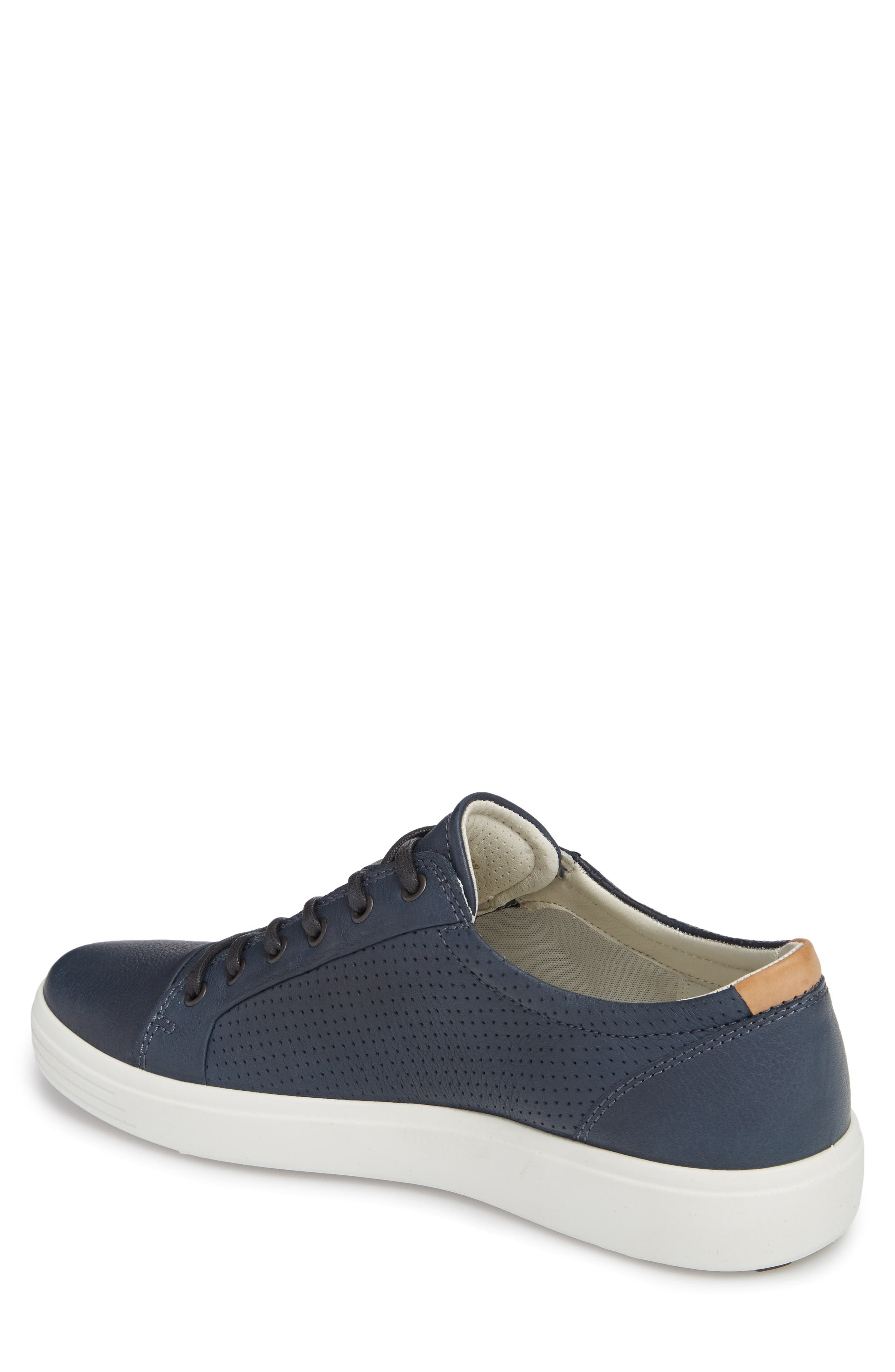 ECCO, Soft 7 Perf Sneaker, Alternate thumbnail 2, color, NAVY LEATHER
