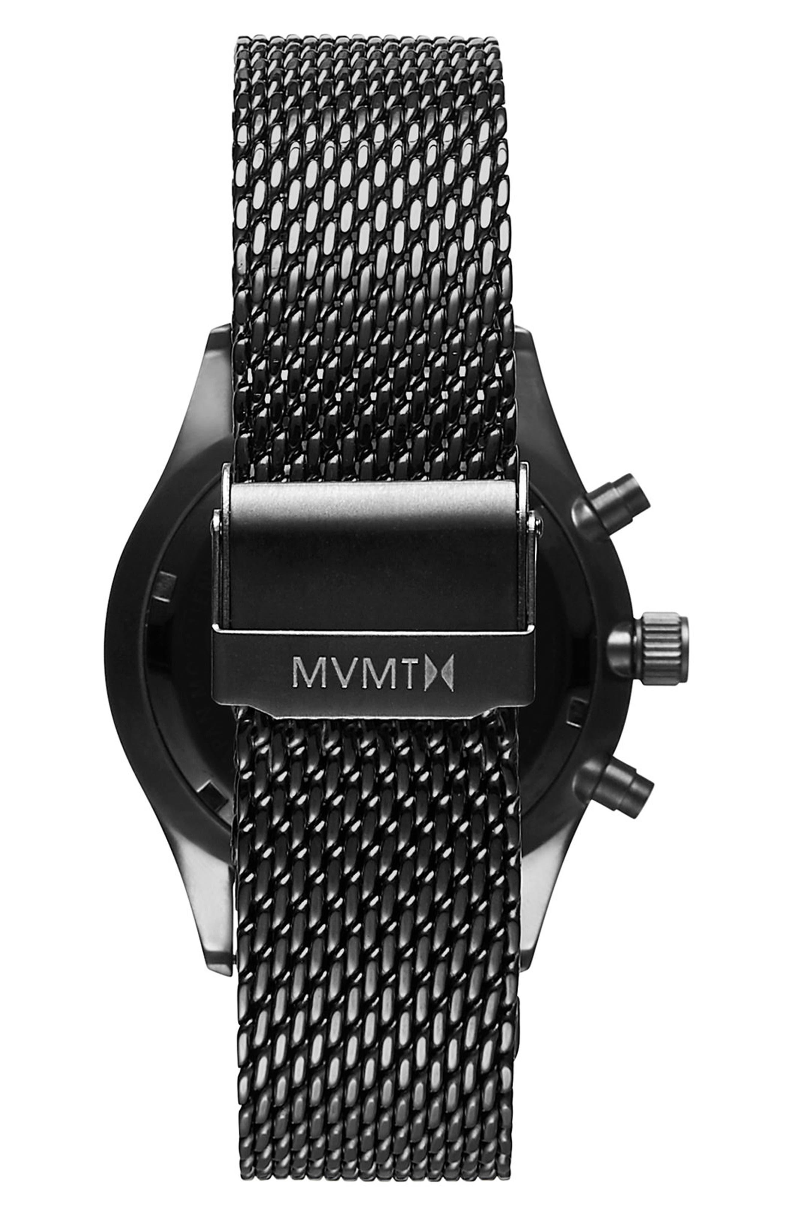 MVMT, Cascade Mesh Strap Watch, 42mm, Alternate thumbnail 2, color, BLACK/ GUNMETAL