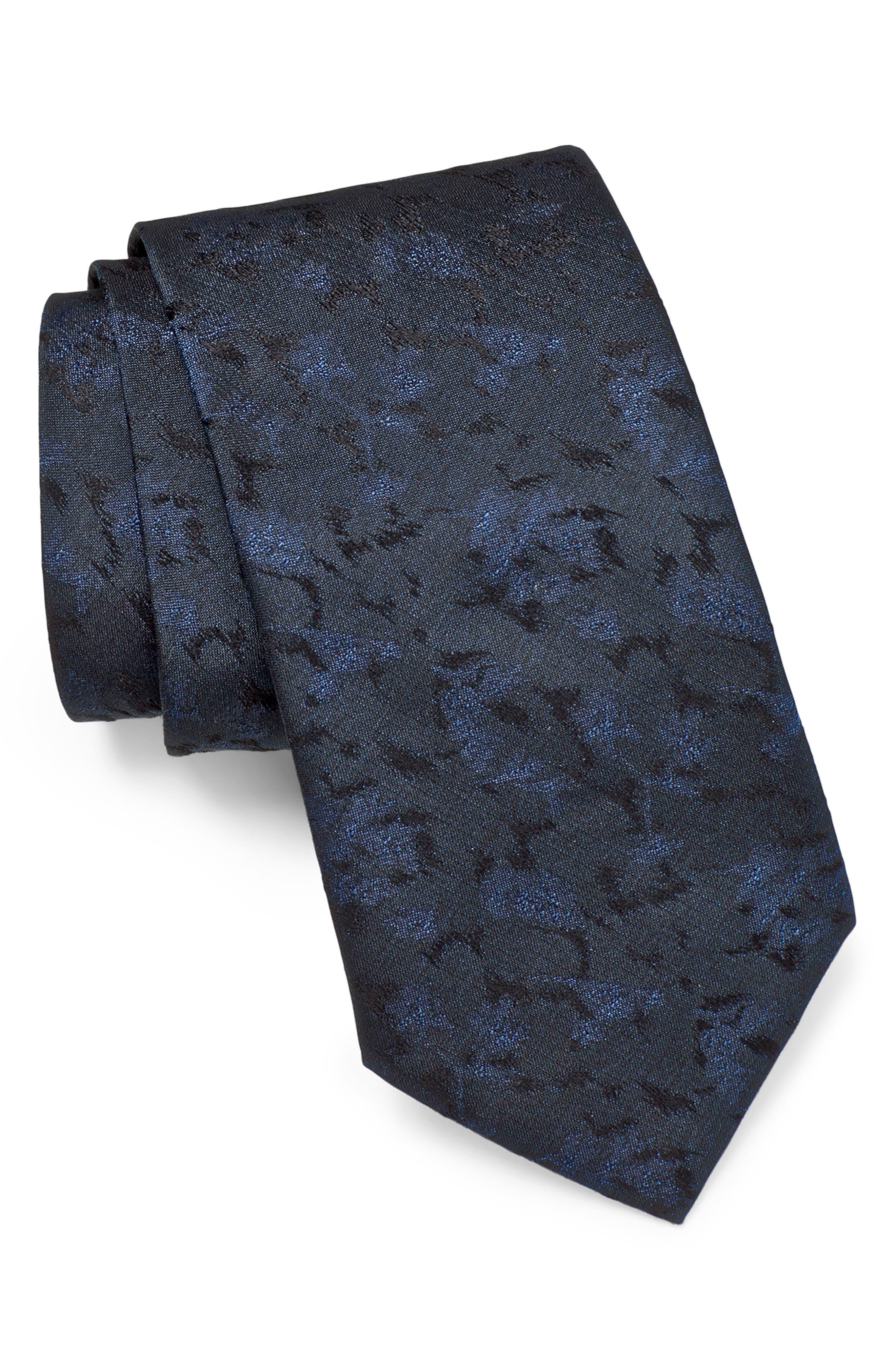 JOHN VARVATOS STAR USA, Floral Silk Tie, Main thumbnail 1, color, INDIGO
