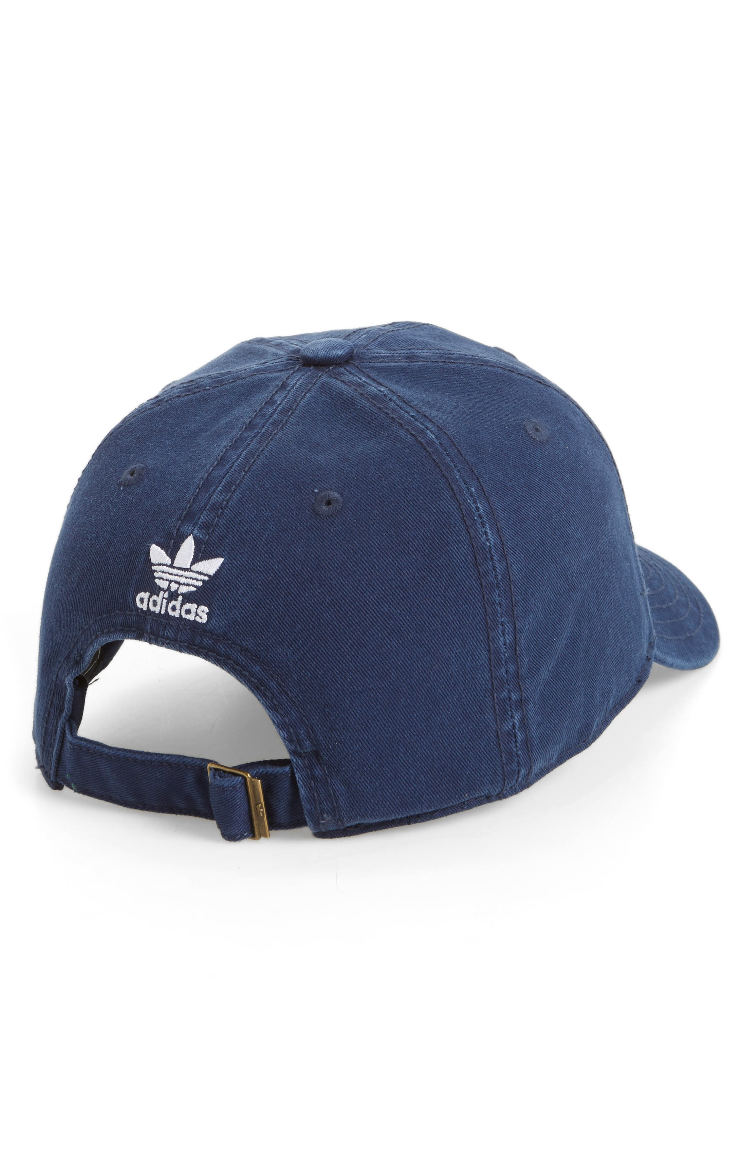 ADIDAS ORIGINALS, Relaxed Baseball Cap, Alternate thumbnail 2, color, NAVY
