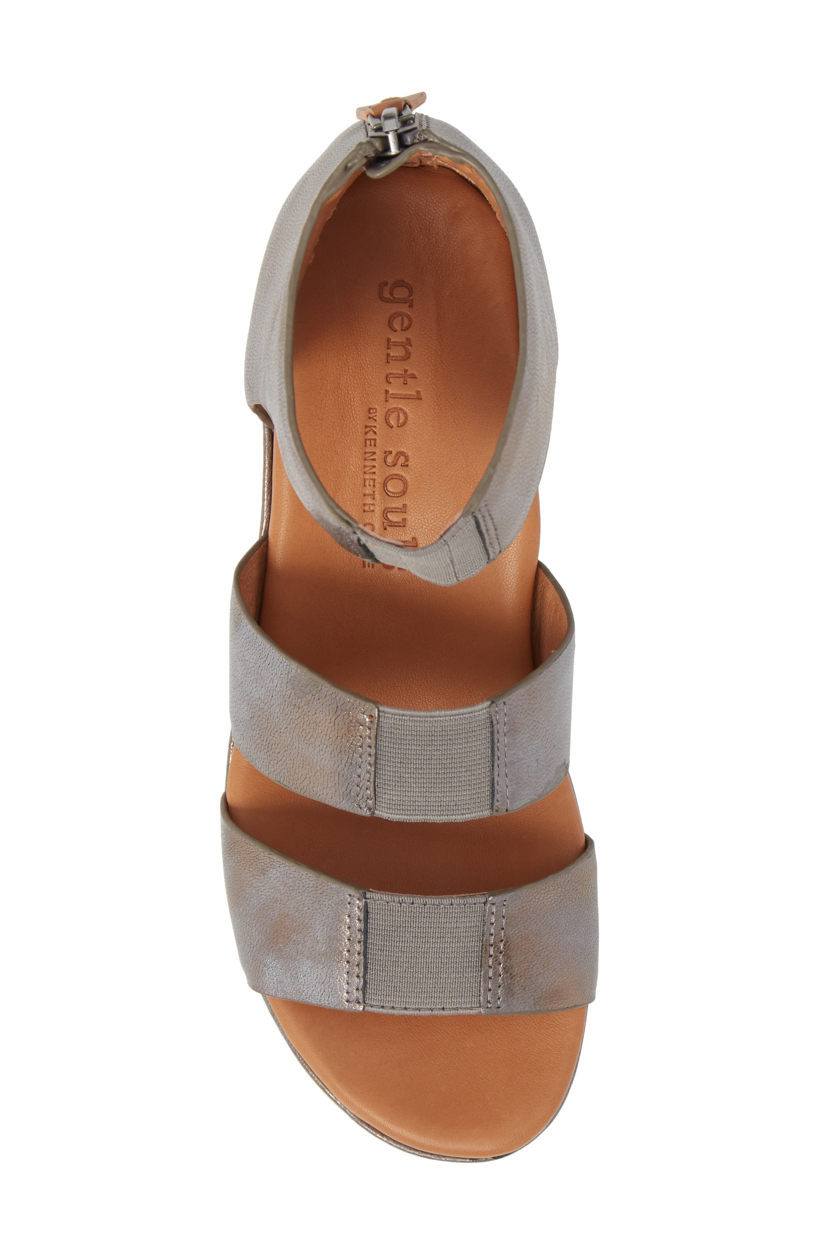 GENTLE SOULS BY KENNETH COLE, Milena Wedge Sandal, Alternate thumbnail 5, color, PEWTER METALLIC LEATHER