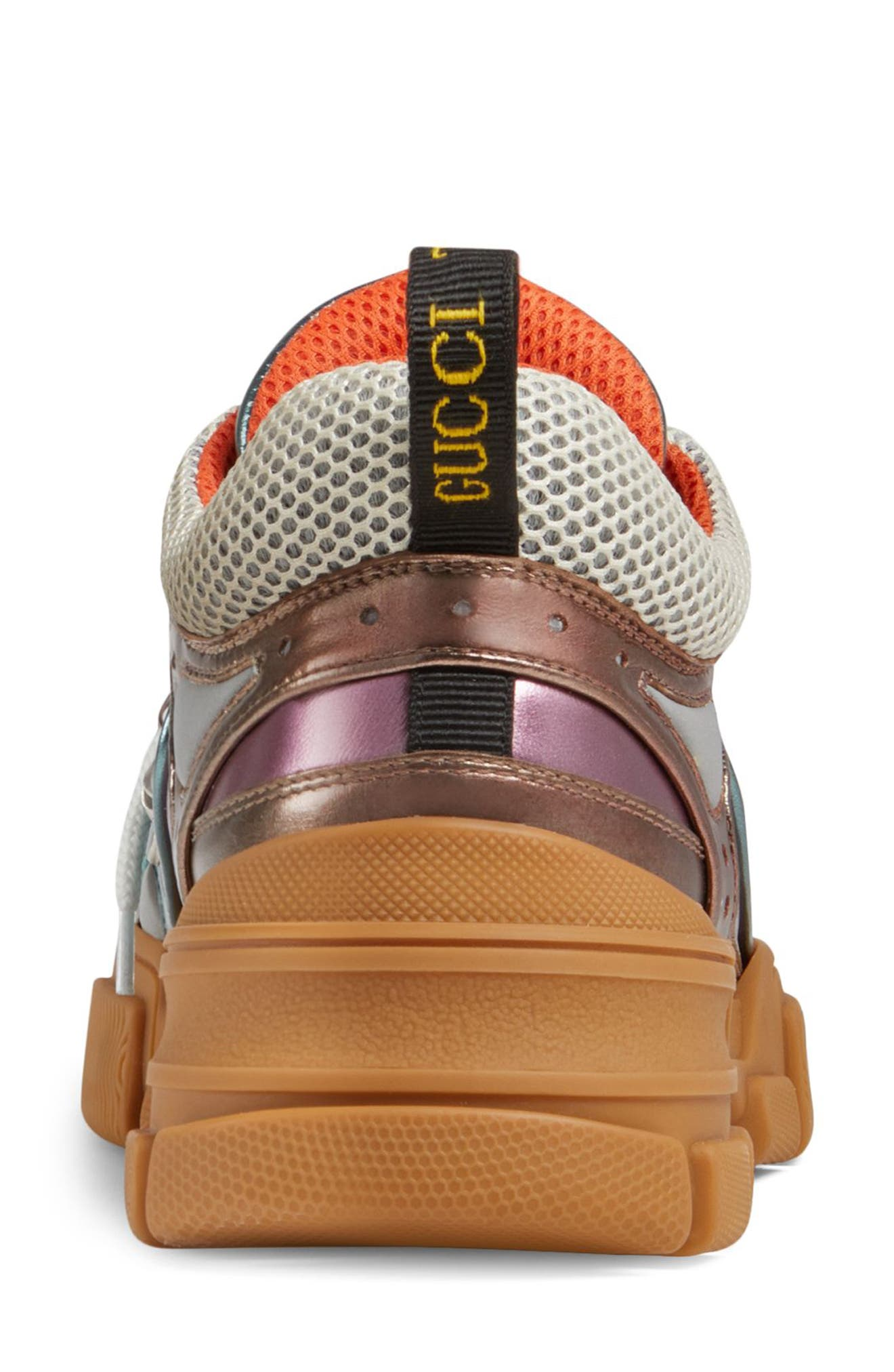 GUCCI, Flashtrek Lace-Up Sneaker, Alternate thumbnail 2, color, BROWN/ BLUE/ PINK