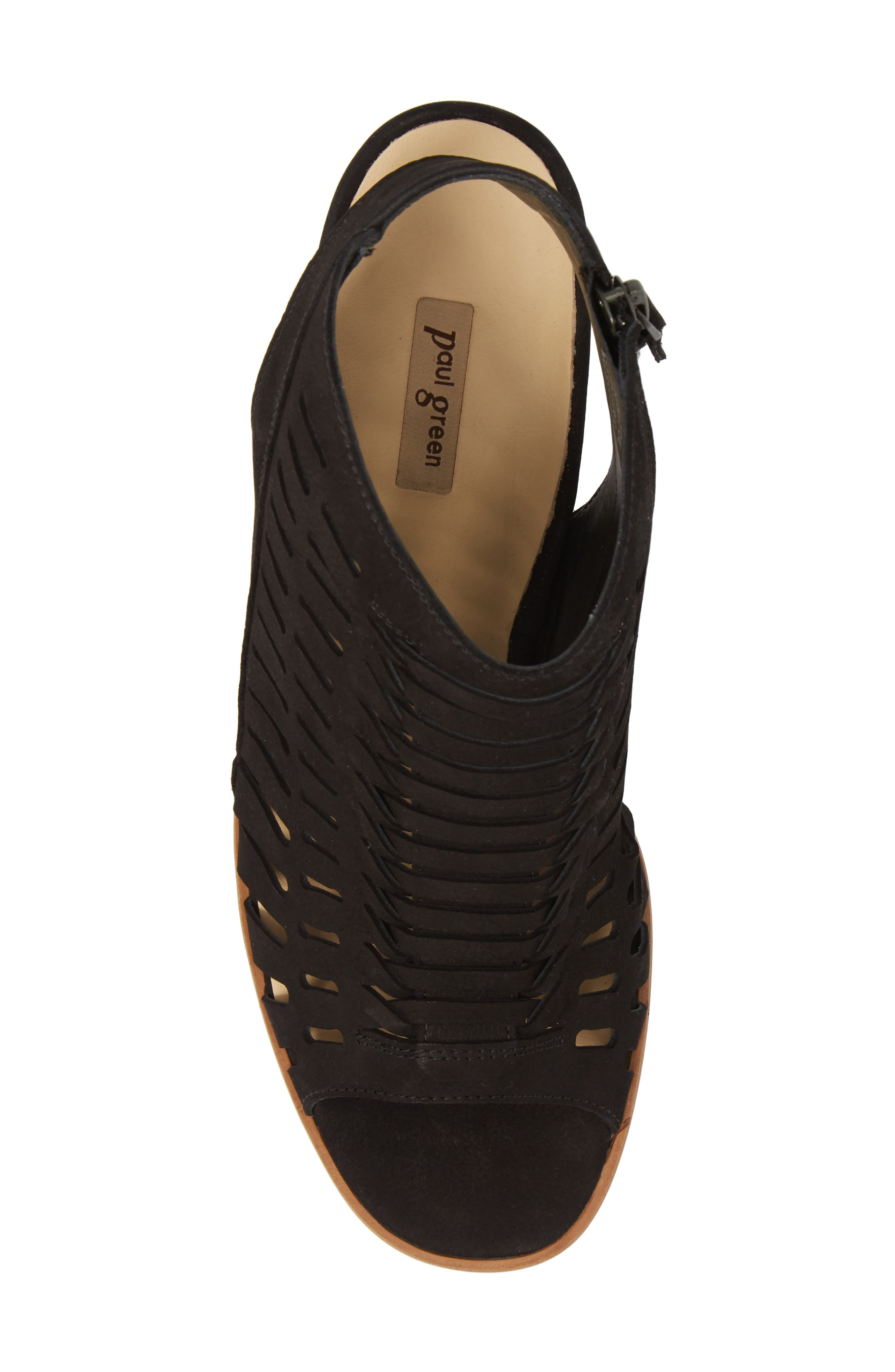 PAUL GREEN, Rosa Woven Peep Toe Sandal, Alternate thumbnail 5, color, BLACK NUBUCK